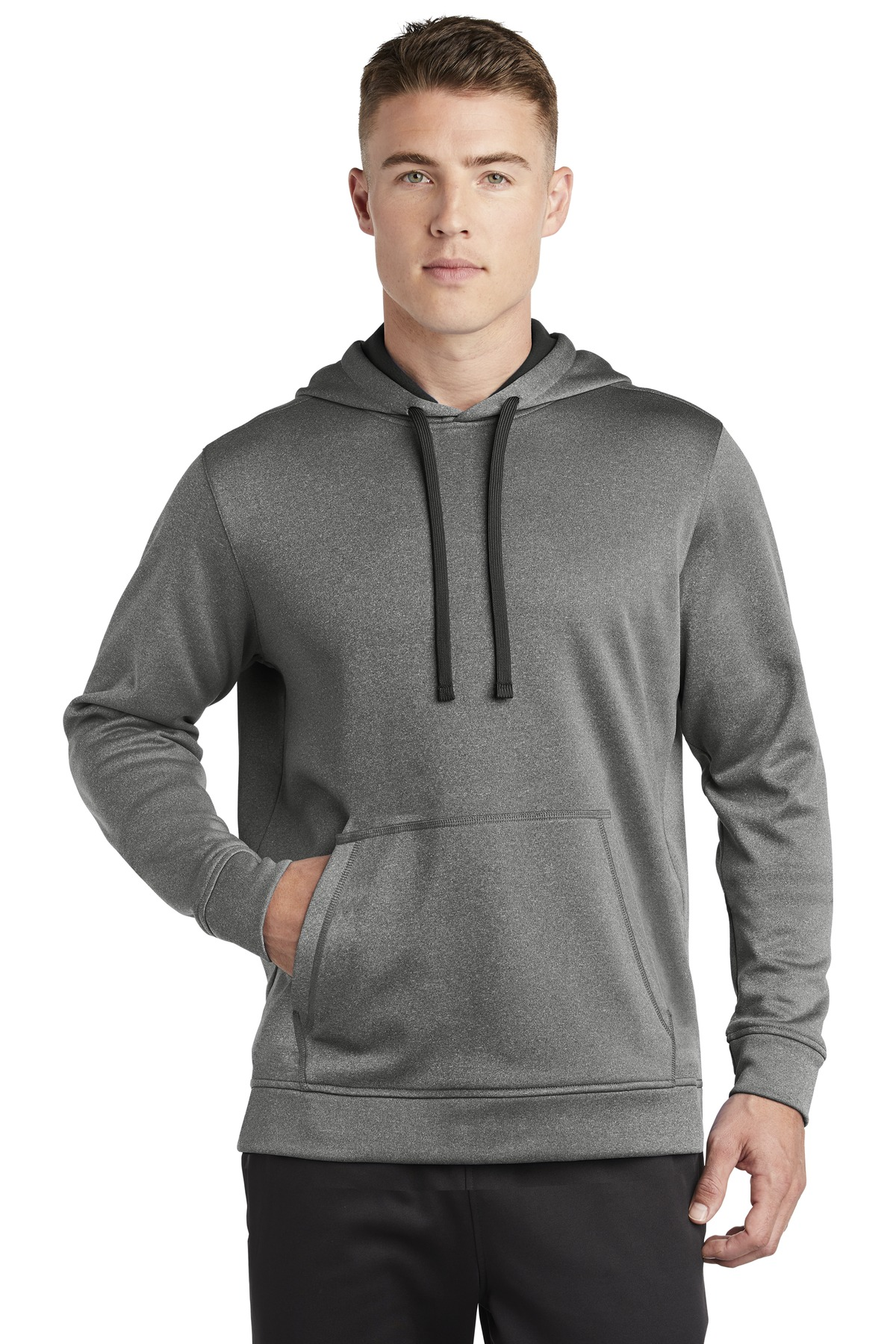 Sport-Tek  ®  PosiCharge  ®  Sport-Wick  ®  Heather Fleece Hooded Pullover. ST264 - Black Heather