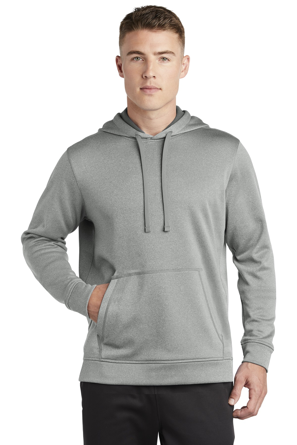 Sport-Tek  ®  PosiCharge  ®  Sport-Wick  ®  Heather Fleece Hooded Pullover. ST264 - Dark Silver Heather