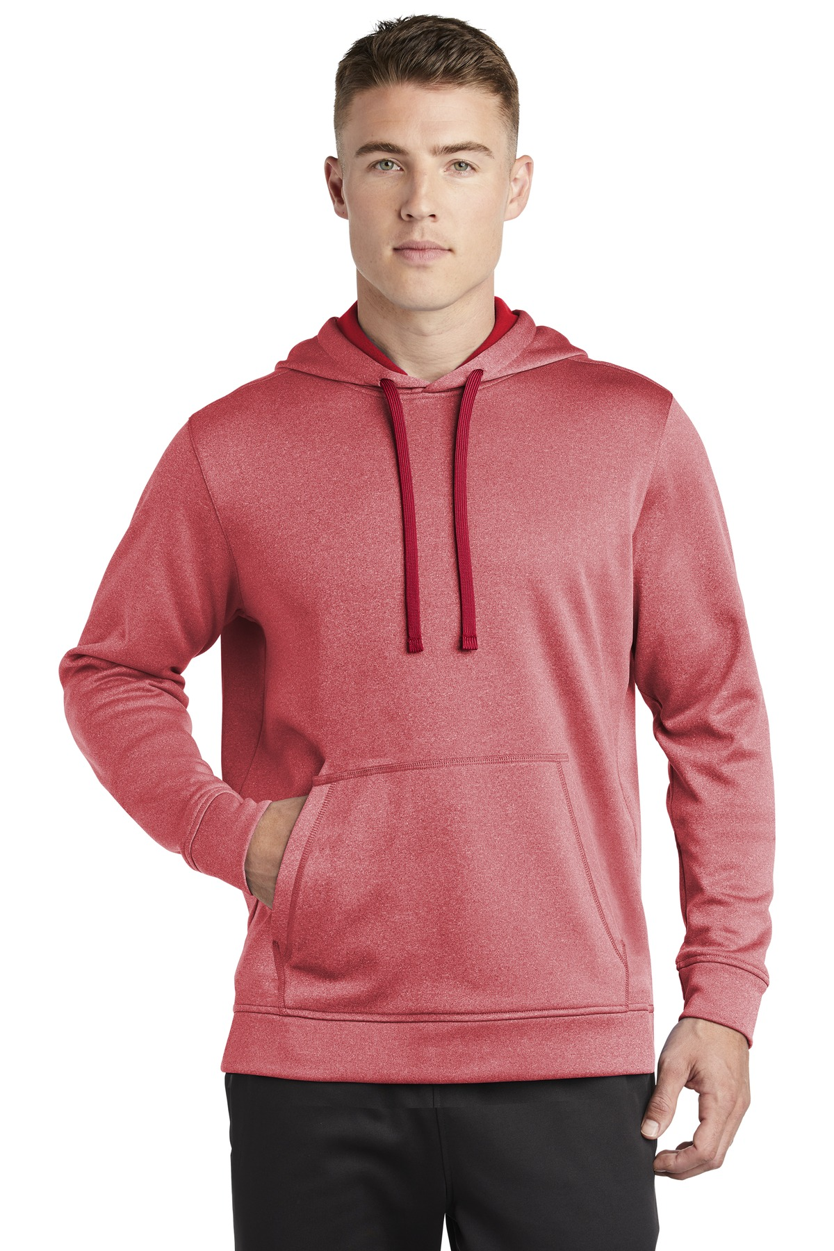 Sport-Tek  ®  PosiCharge  ®  Sport-Wick  ®  Heather Fleece Hooded Pullover. ST264 - Deep Red Heather