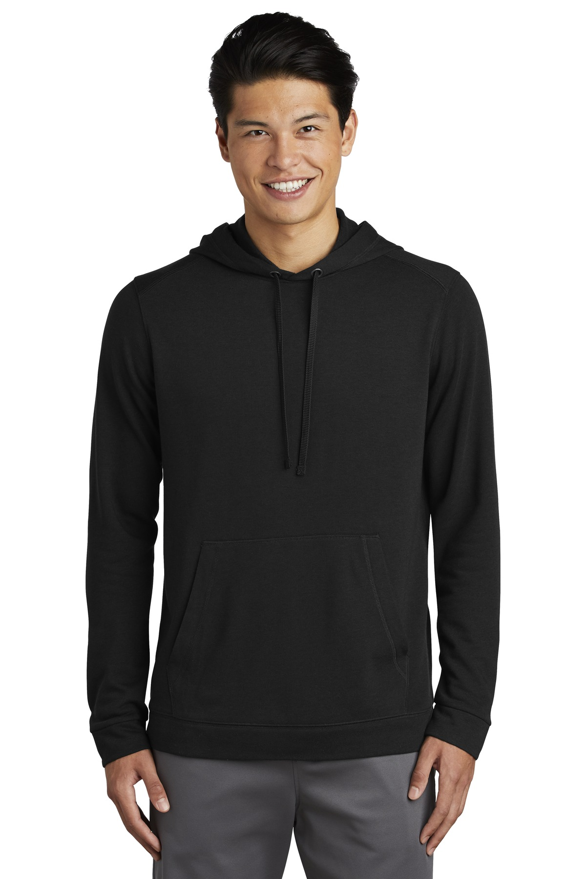 Sport-Tek  ®  PosiCharge  ®  Tri-Blend Wicking Fleece Hooded Pullover. ST296 - Black Triad Solid