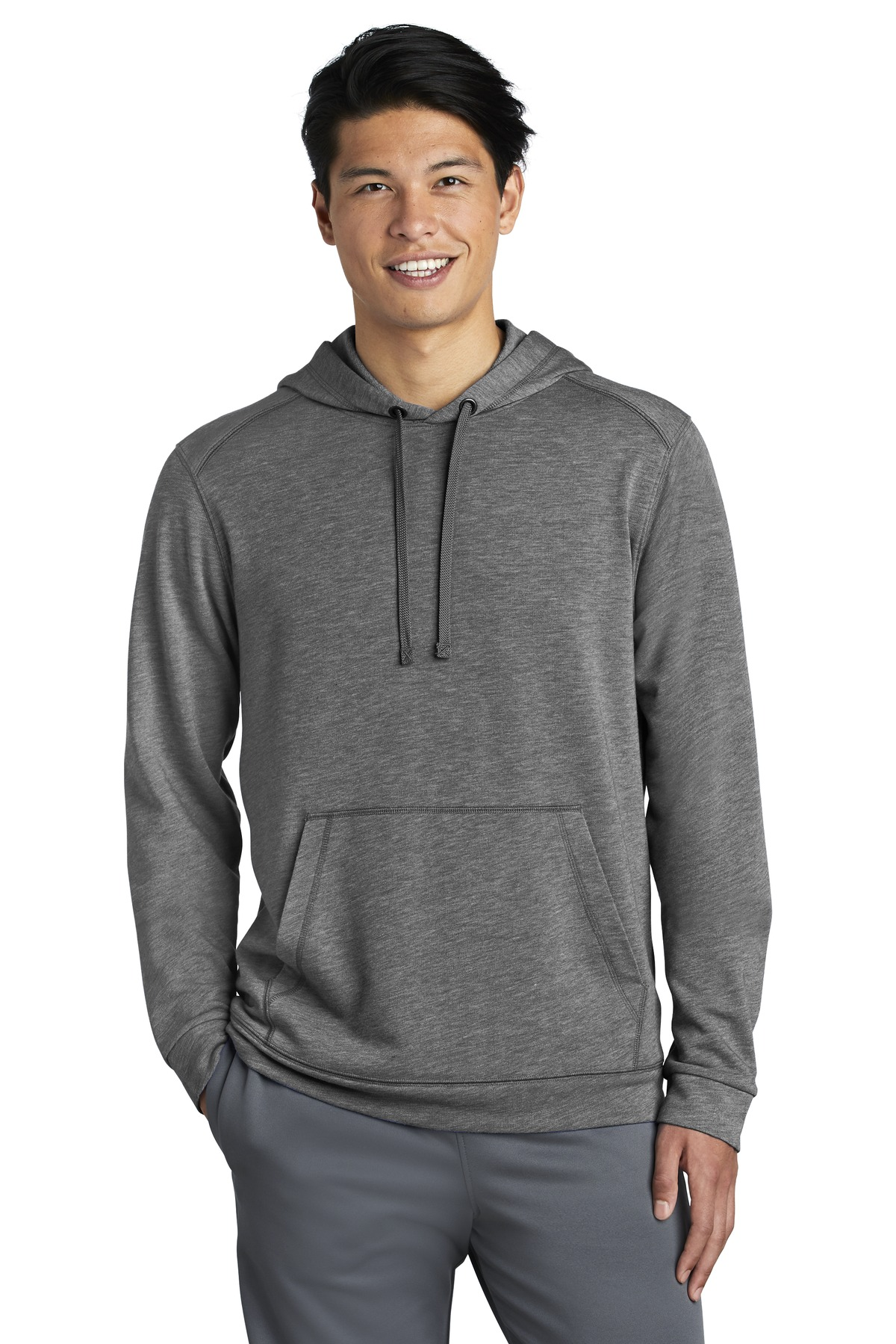 Sport-Tek  ®  PosiCharge  ®  Tri-Blend Wicking Fleece Hooded Pullover. ST296 - Dark Grey Heather