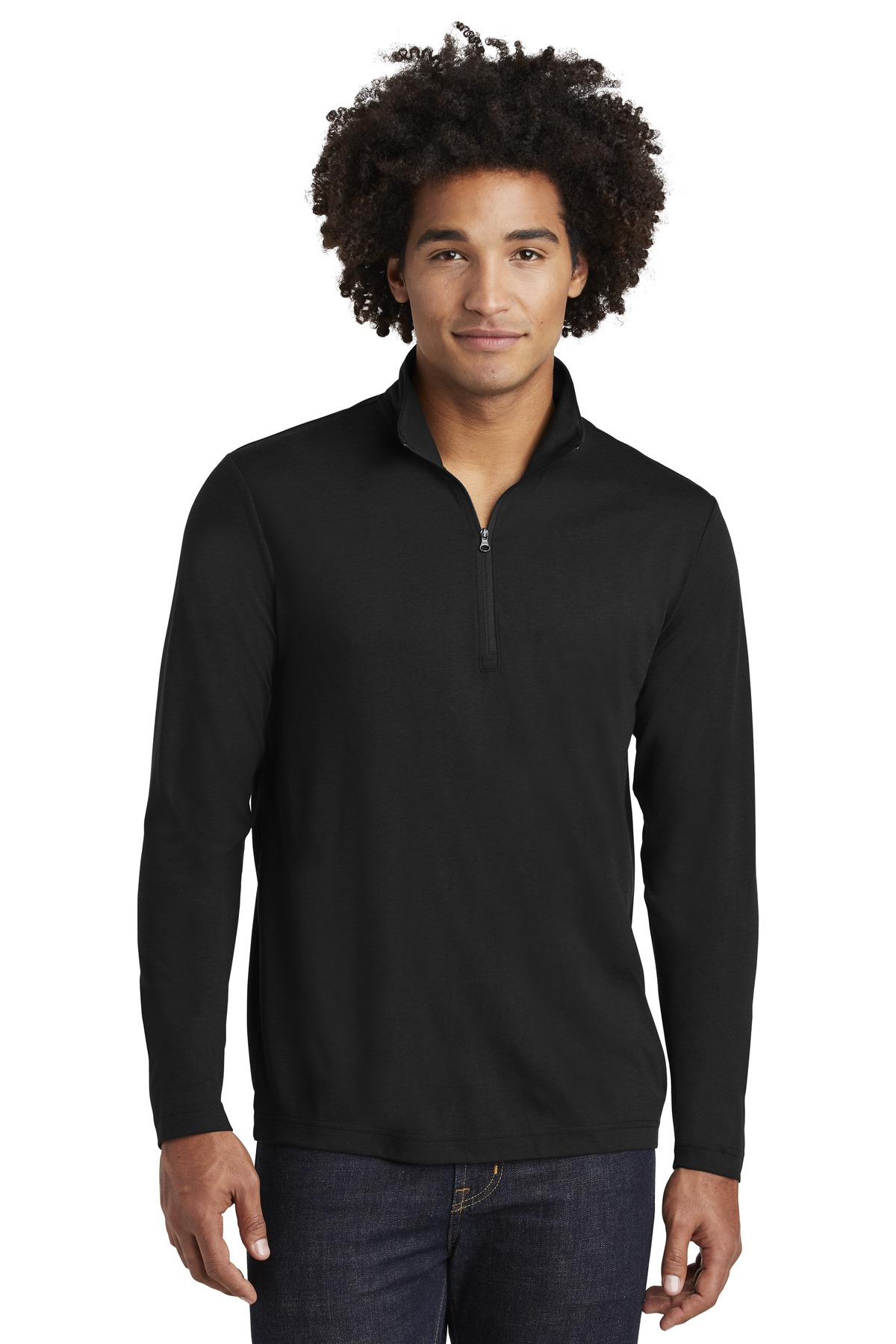 Sport-Tek  ®  PosiCharge  ®  Tri-Blend Wicking 1/4-Zip Pullover. ST407 - Black Triad Solid