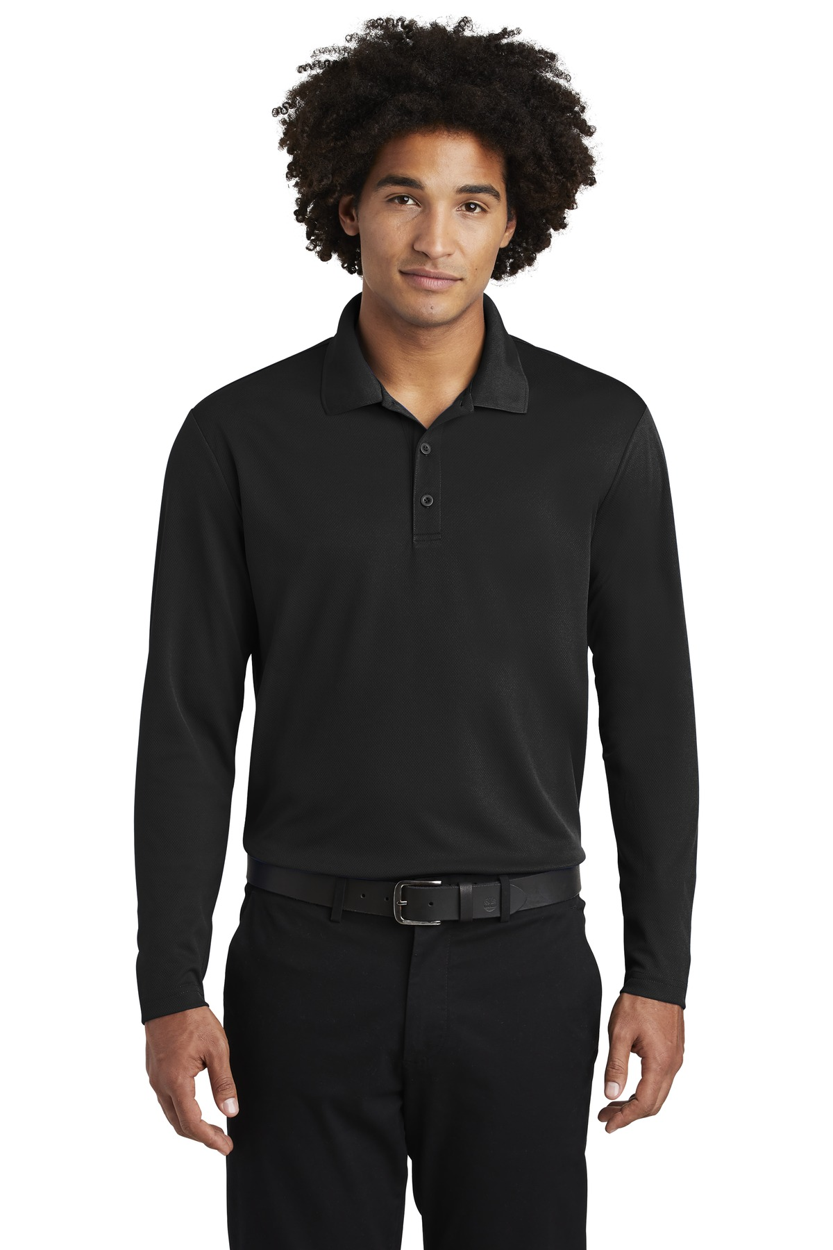 Sport-Tek  ®  PosiCharge  ®  RacerMesh  ®  Long Sleeve Polo. ST640LS - Black