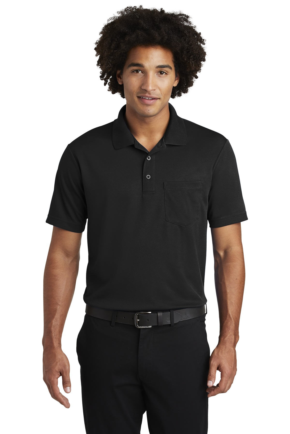 Sport-Tek  ®  PosiCharge  ®  RacerMesh  ®  Pocket Polo. ST640P - Black