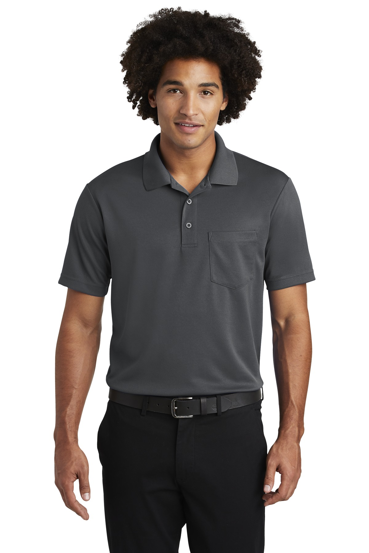 Sport-Tek  ®  PosiCharge  ®  RacerMesh  ®  Pocket Polo. ST640P - Graphite Grey
