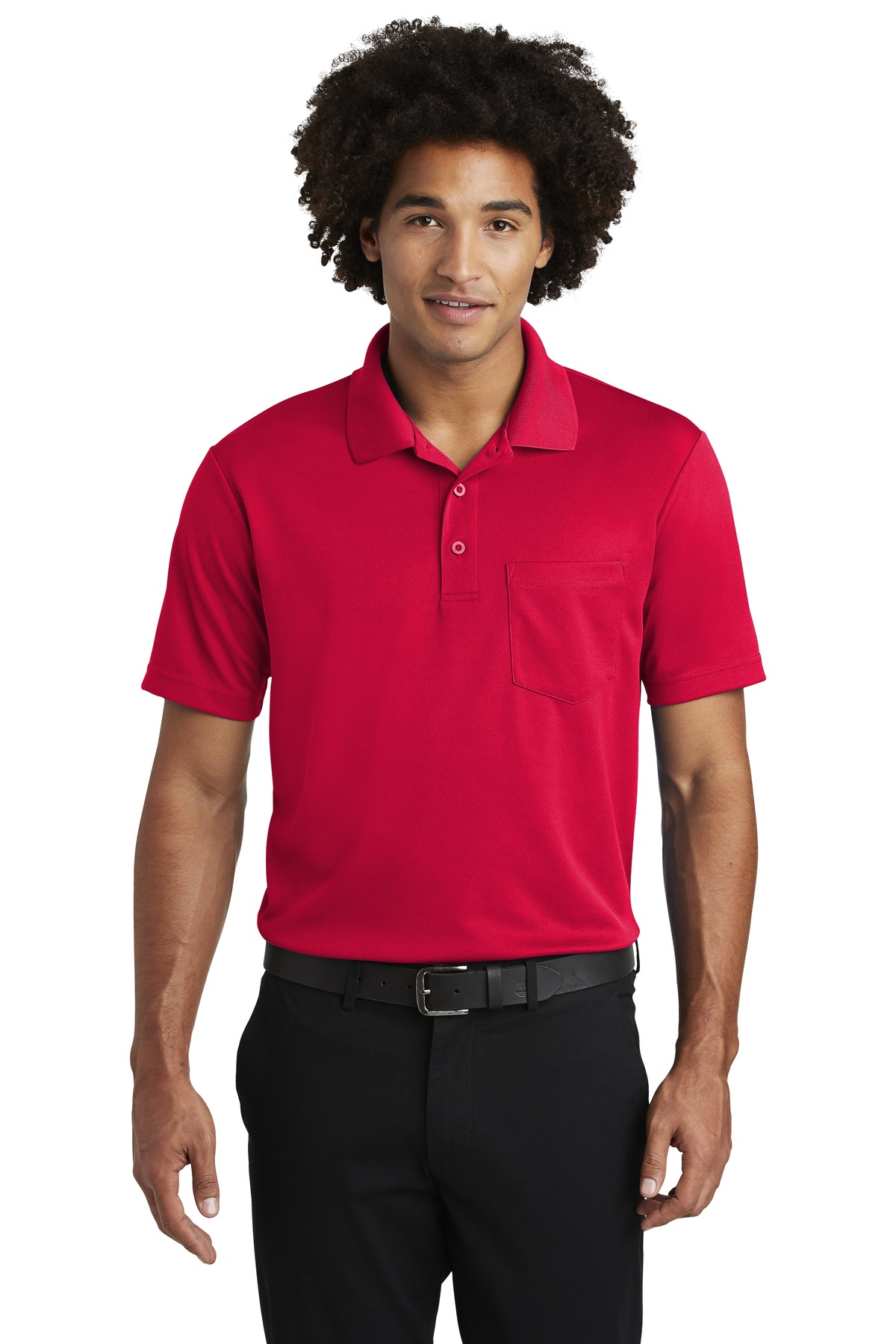 Sport-Tek  ®  PosiCharge  ®  RacerMesh  ®  Pocket Polo. ST640P - True Red