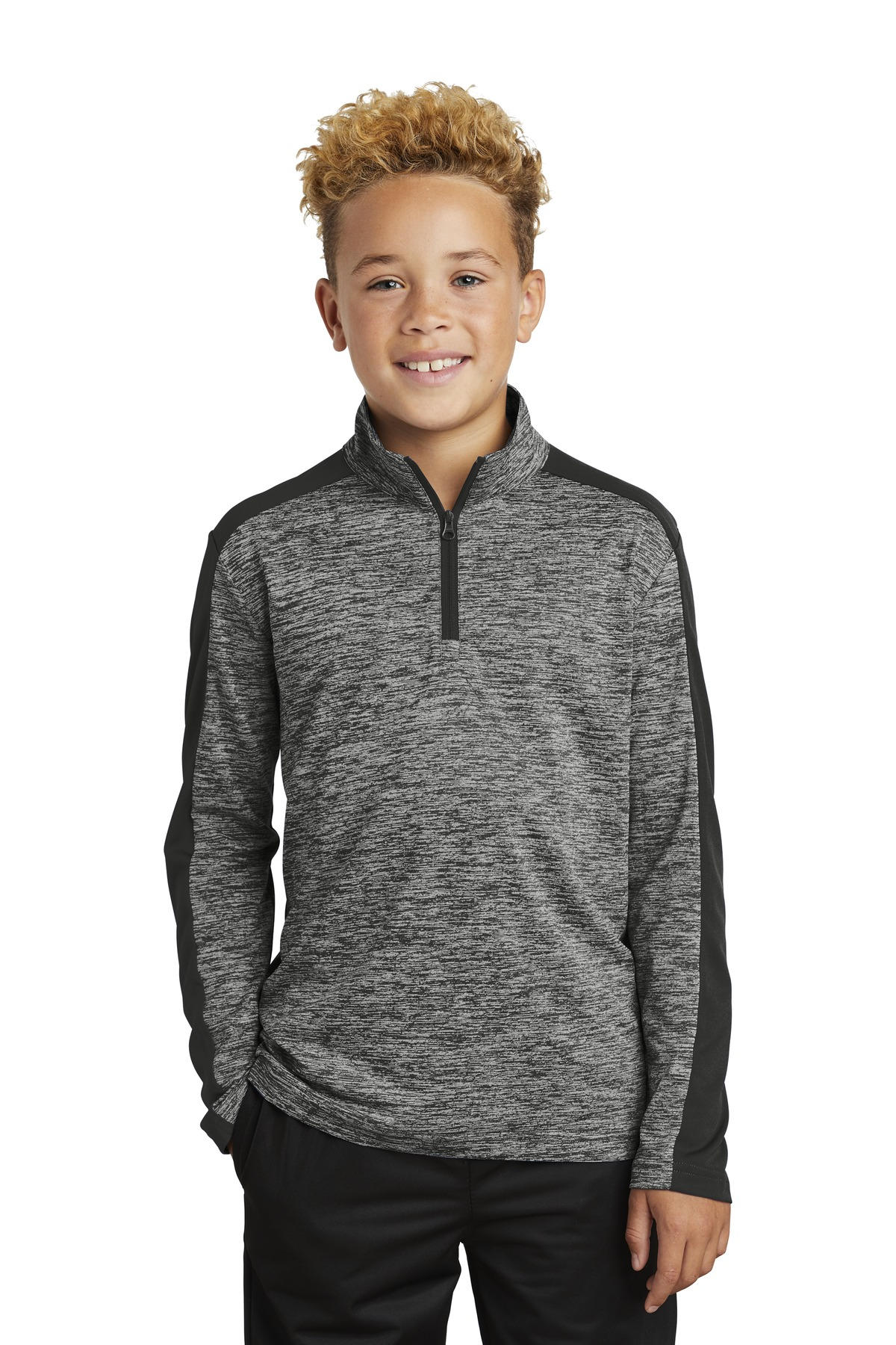 Sport-Tek  ®  Youth PosiCharge  ®  Electric Heather Colorblock 1/4-Zip Pullover. YST397 - Black Electric/ Black