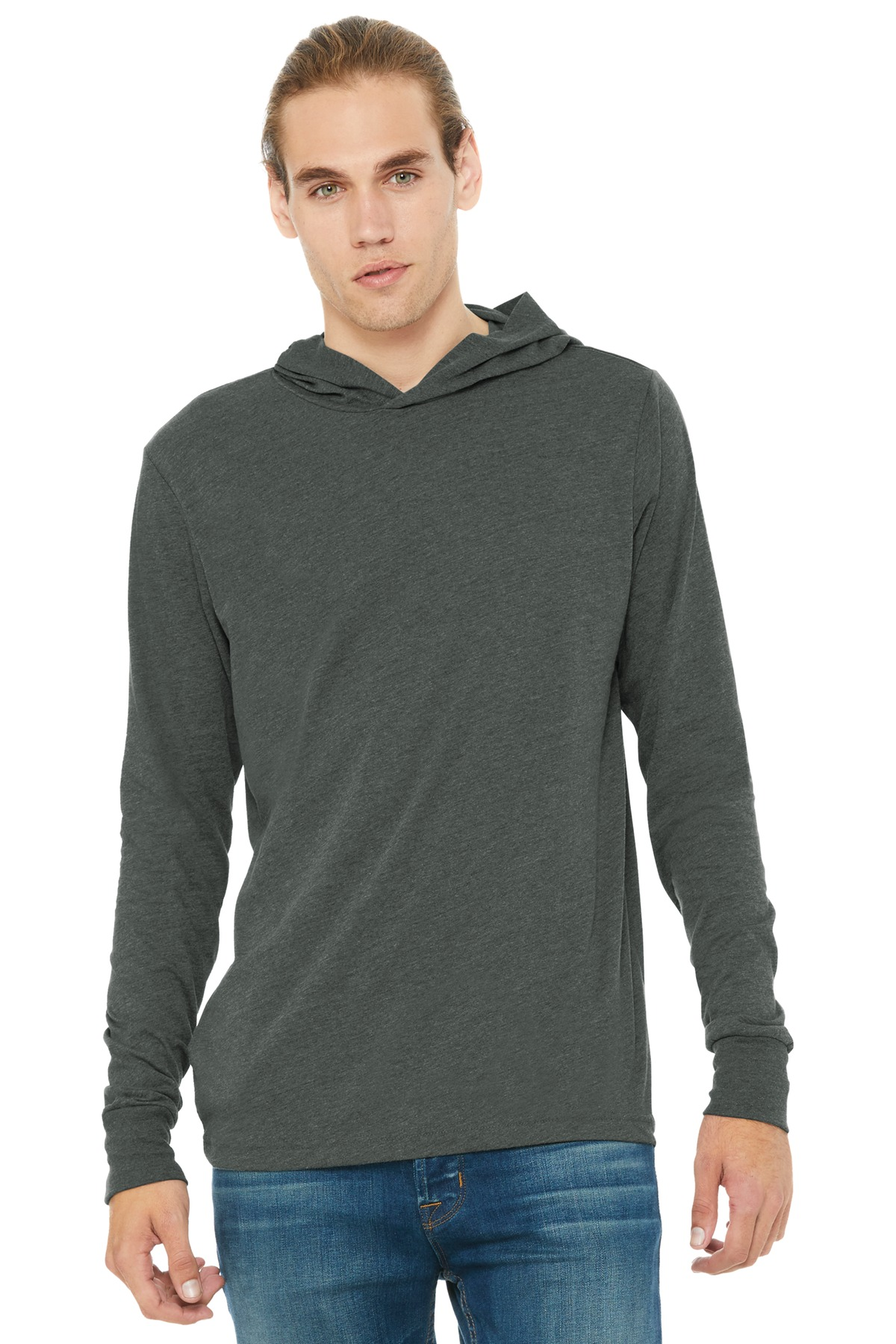 BELLA+CANVAS  ®  Unisex Jersey Long Sleeve Hoodie. BC3512 - Deep Heather