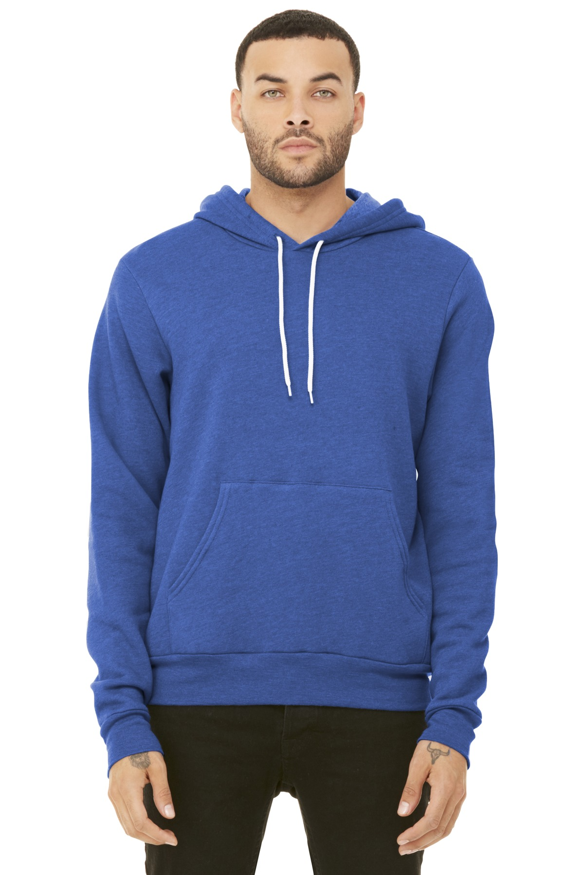BELLA+CANVAS  ®  Unisex Sponge Fleece Pullover Hoodie. BC3719 - Heather True Royal