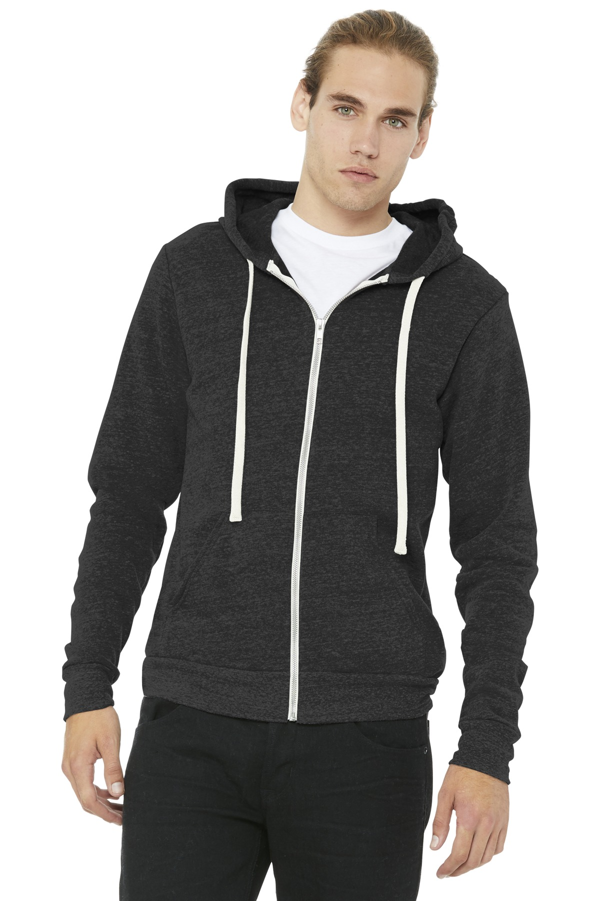 BELLA+CANVAS  ®  Unisex Triblend Sponge Fleece Full-Zip Hoodie. BC3909 - Charcoal-Black Triblend