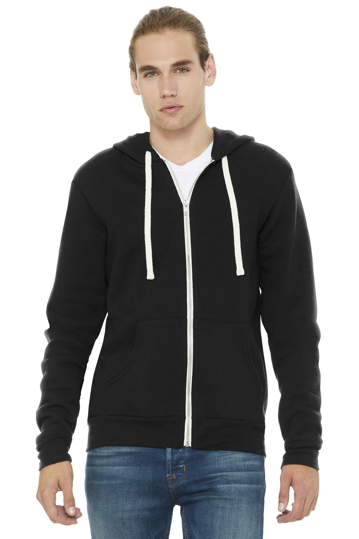 BELLA+CANVAS  ®  Unisex Triblend Sponge Fleece Full-Zip Hoodie. BC3909 - Solid Black Triblend