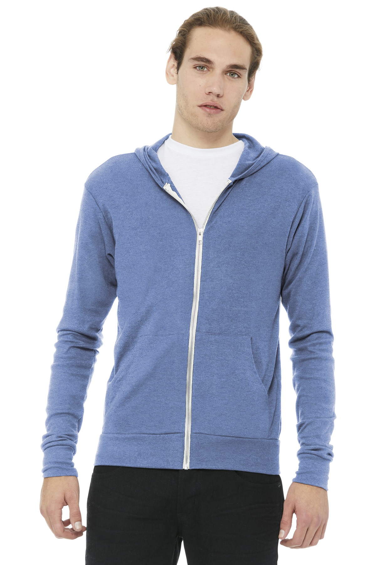 BELLA+CANVAS  ®  Unisex Triblend Full-Zip Lightweight Hoodie. BC3939 - Blue Triblend