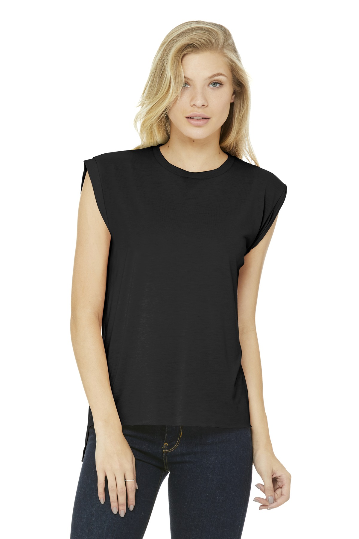 BELLA+CANVAS  ®  Women's Flowy Muscle Tee With Rolled Cuffs. BC8804 - Black