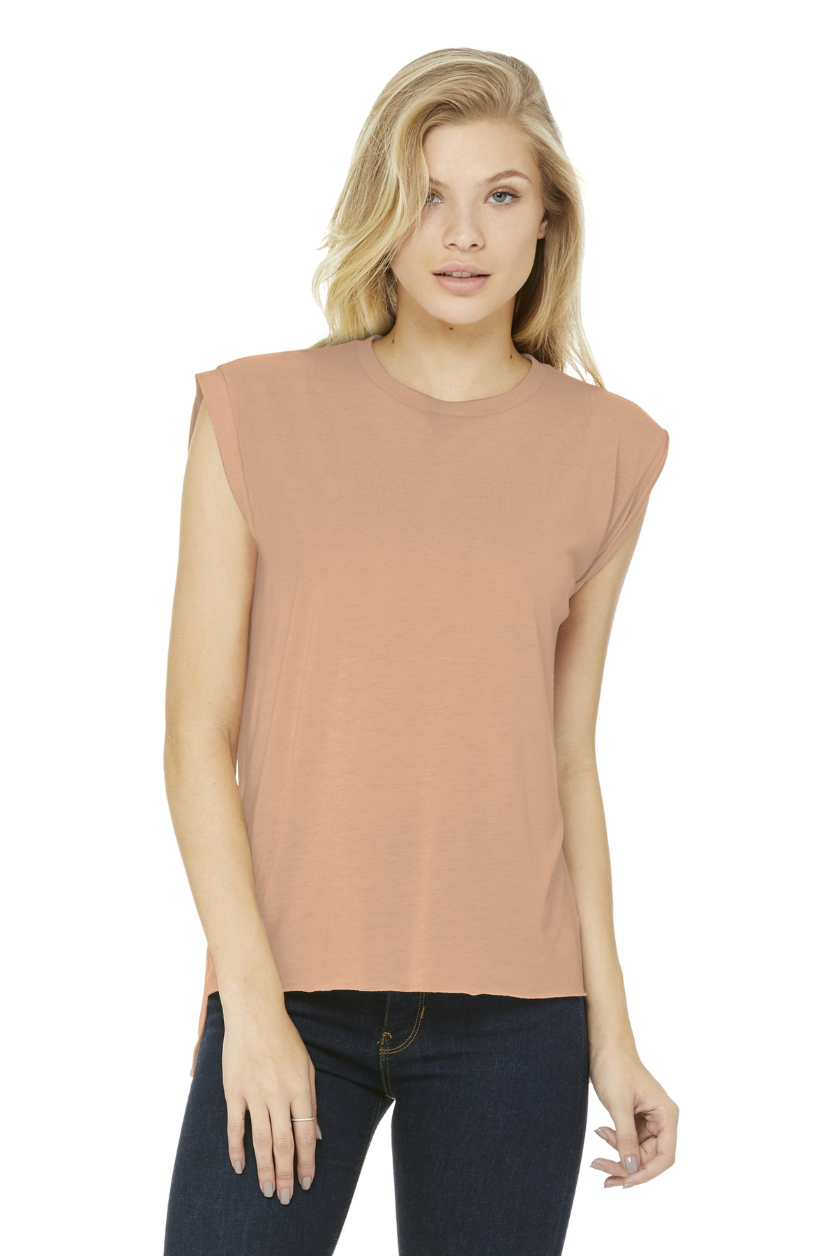 BELLA+CANVAS Women''s Flowy Muscle Tee With Rolled Cuffs. BC8804