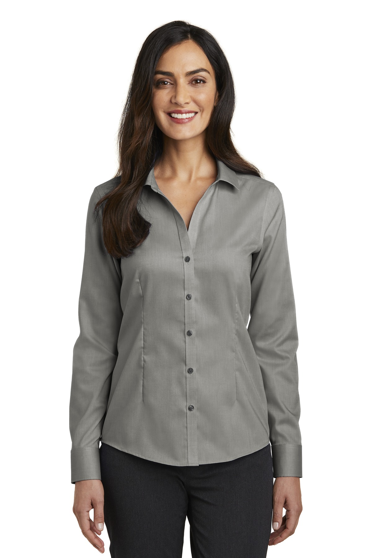 Red House ®   Ladies Pinpoint Oxford Non-Iron Shirt. RH250 - Charcoal
