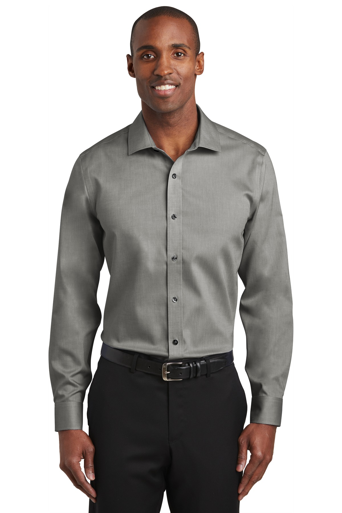 Red House ®   Slim Fit Pinpoint Oxford Non-Iron Shirt. RH620 - Charcoal
