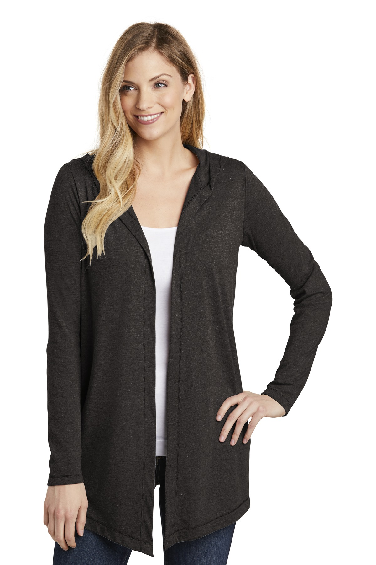 District  ®  Women's Perfect Tri  ®  Hooded Cardigan. DT156 - Black Frost