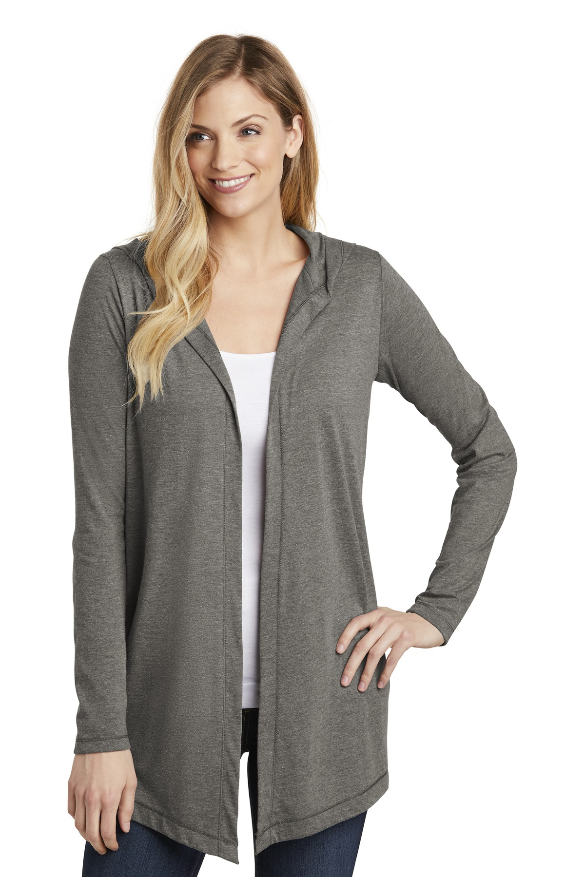 District Women''s Perfect Tri Hooded Cardigan. DT156
