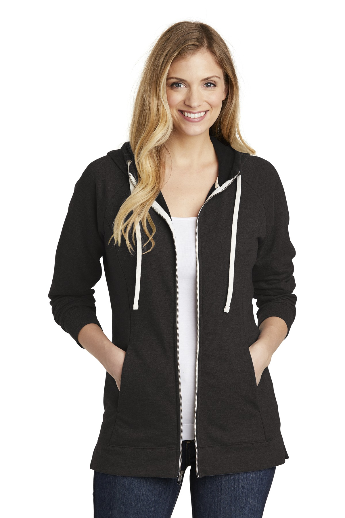District  ®  Women's Perfect Tri  ®  French Terry Full-Zip Hoodie. DT456 - Black