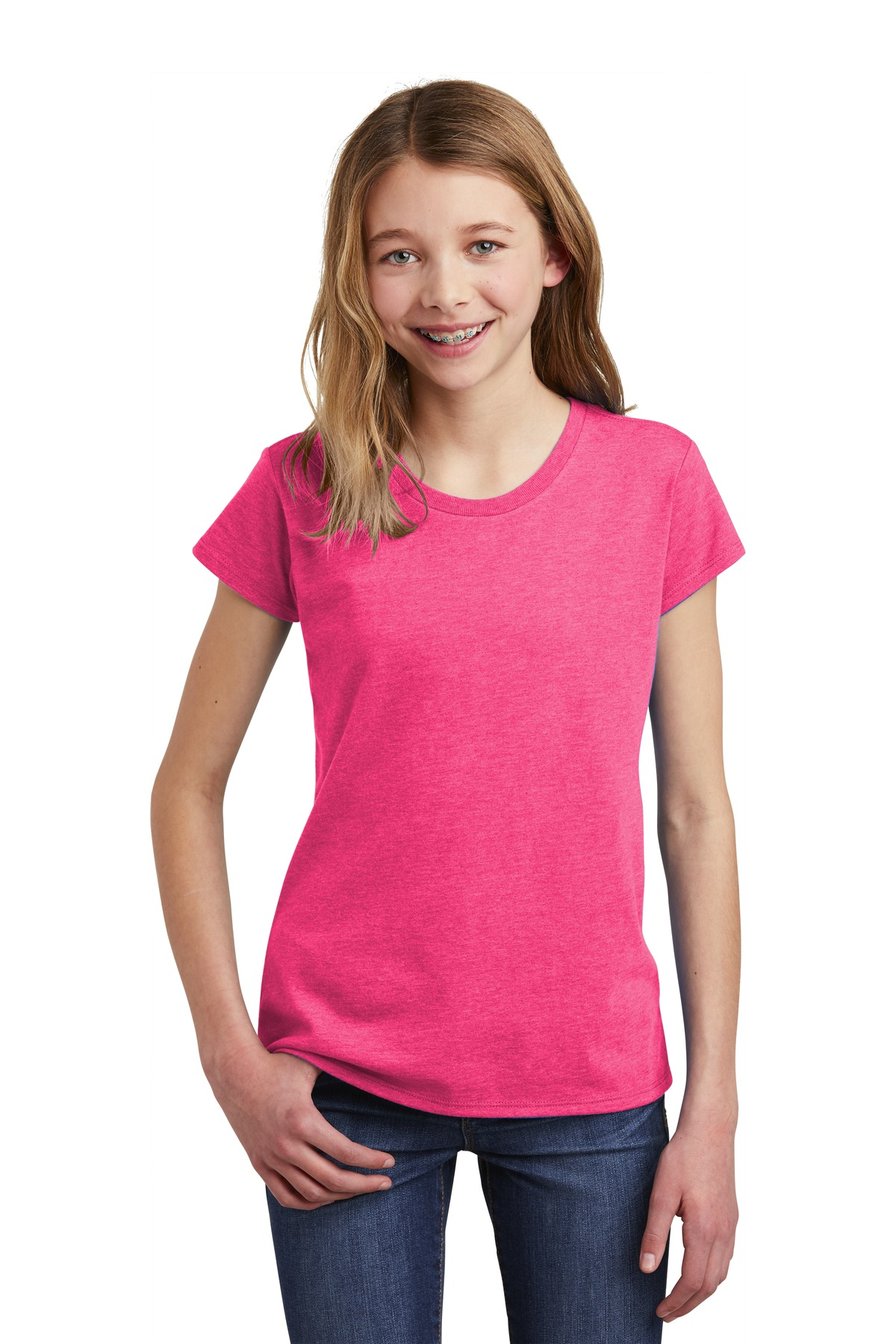 District  ®  Girls Very Important Tee  ®  .DT6001YG - Fuchsia Frost