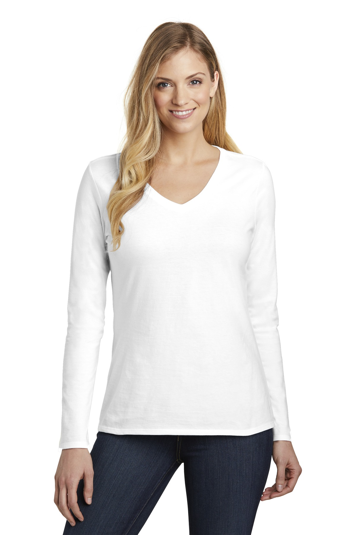 District  ®  Women's Very Important Tee  ®  Long Sleeve V-Neck. DT6201 - White