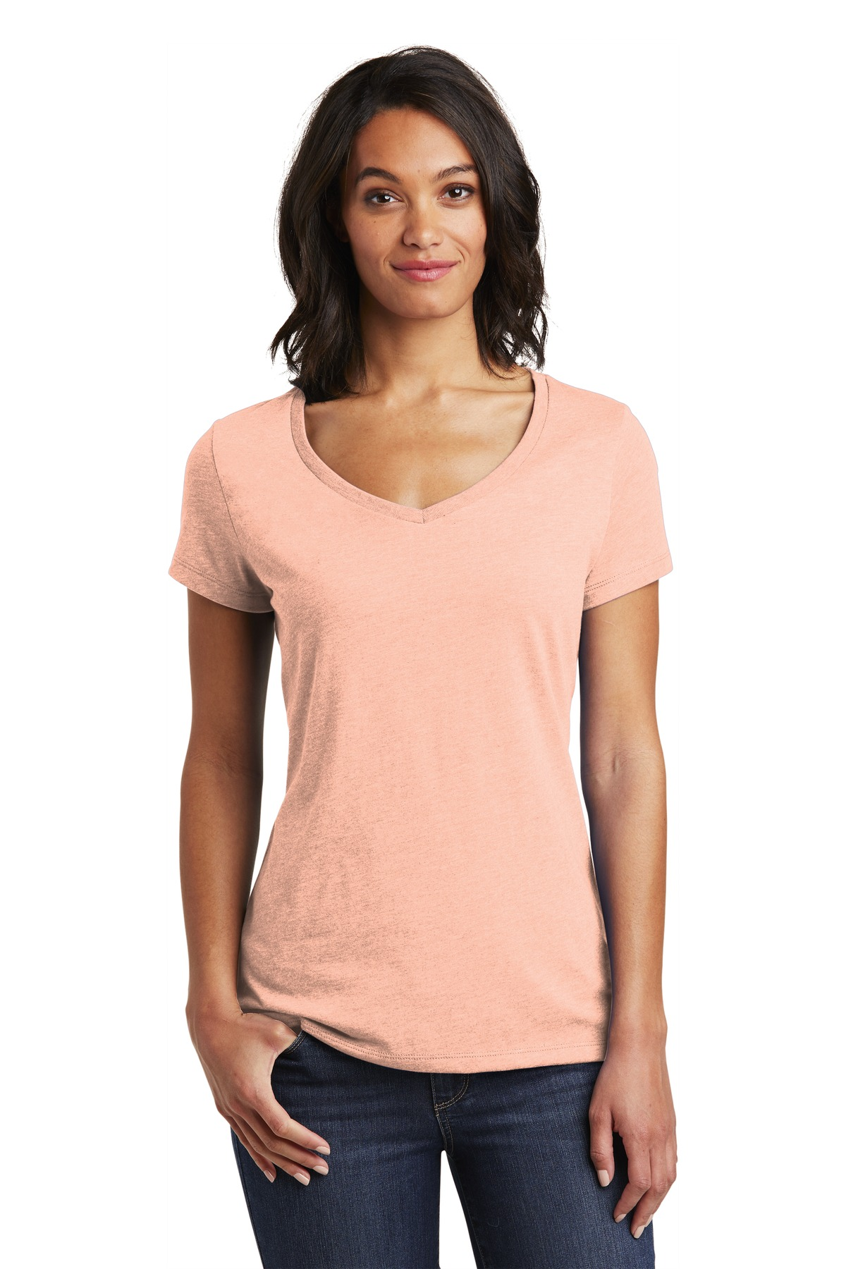 District  ®  Women's Very Important Tee  ®  V-Neck. DT6503 - Dusty Peach
