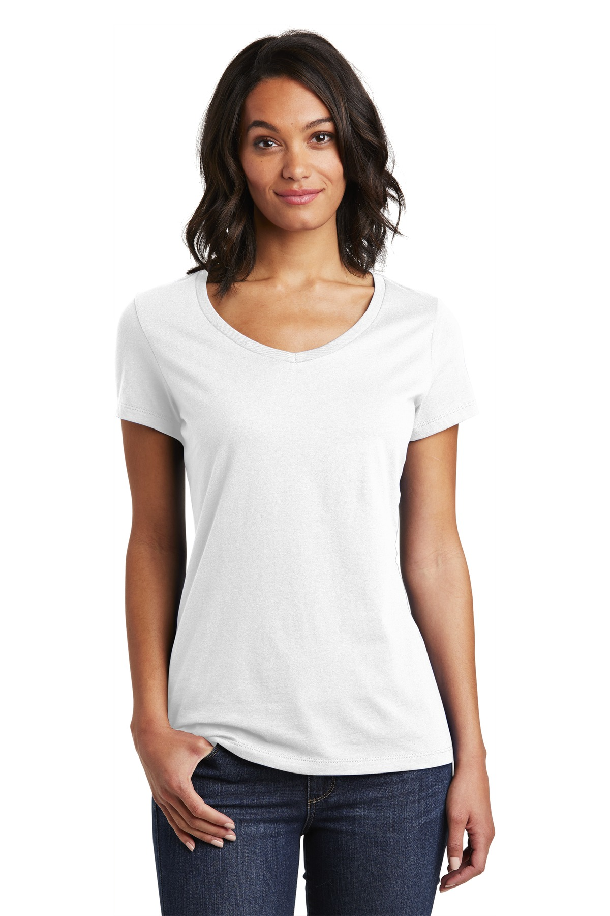 District  ®  Women's Very Important Tee  ®  V-Neck. DT6503 - White
