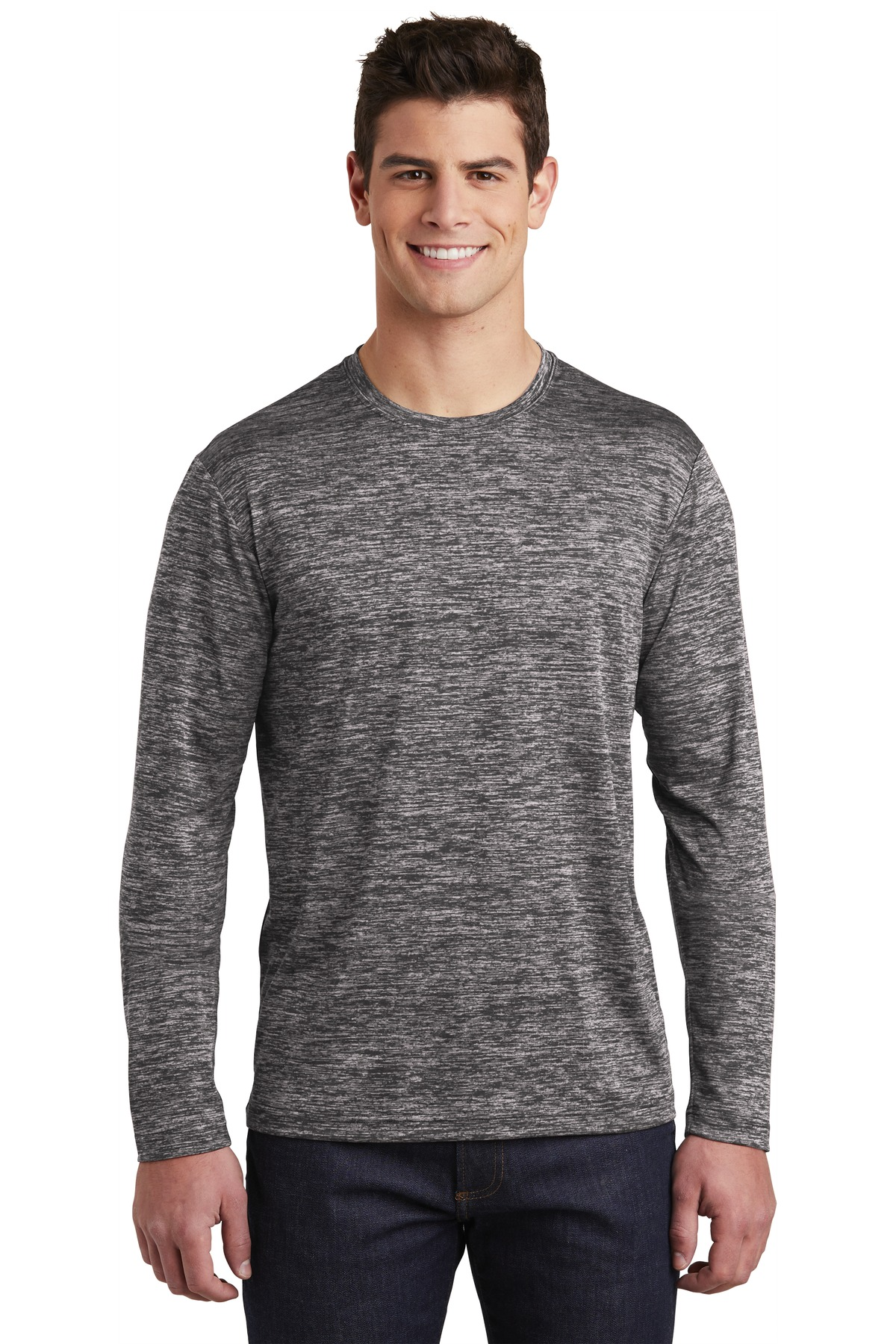 Sport-Tek  ®  PosiCharge  ®  Long Sleeve Electric Heather Tee. ST390LS - Black Electric