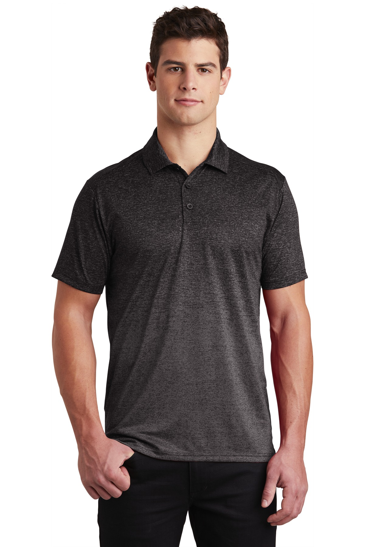 Sport-Tek  ®  Ombre Heather Polo. ST671 - Iron Grey/ Black
