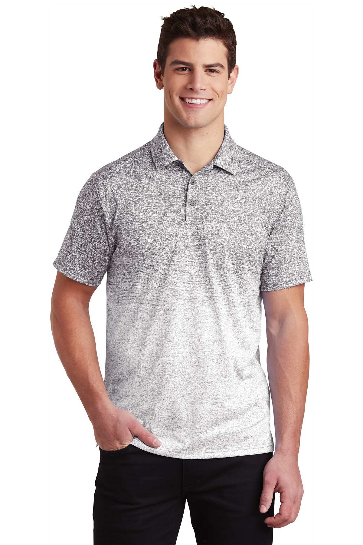 Sport-Tek  ®  Ombre Heather Polo. ST671 - White/ Graphite