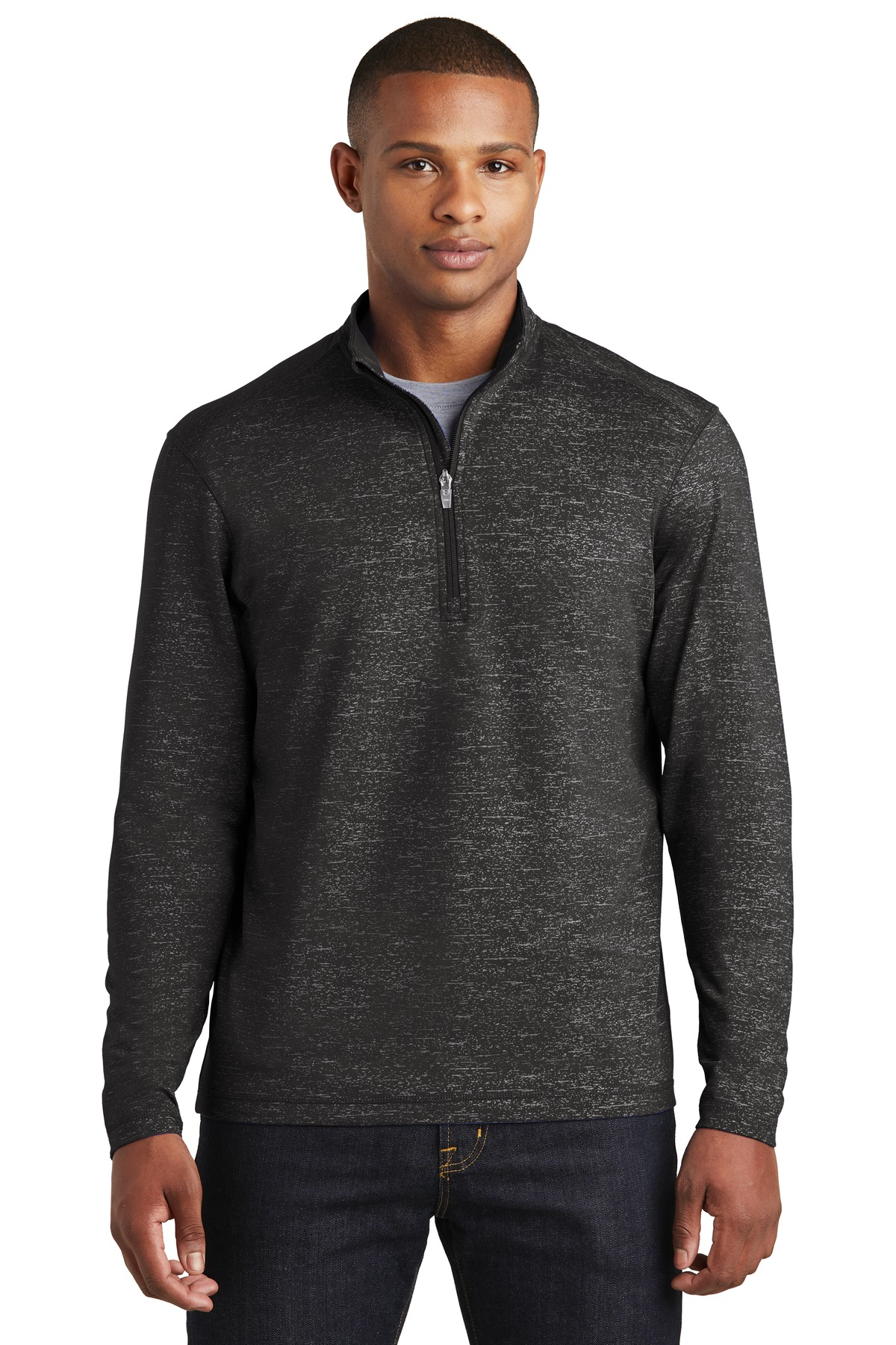 Sport-Tek  ®  Sport-Wick  ®  Stretch Reflective Heather 1/2-Zip Pullover. ST855 - Black