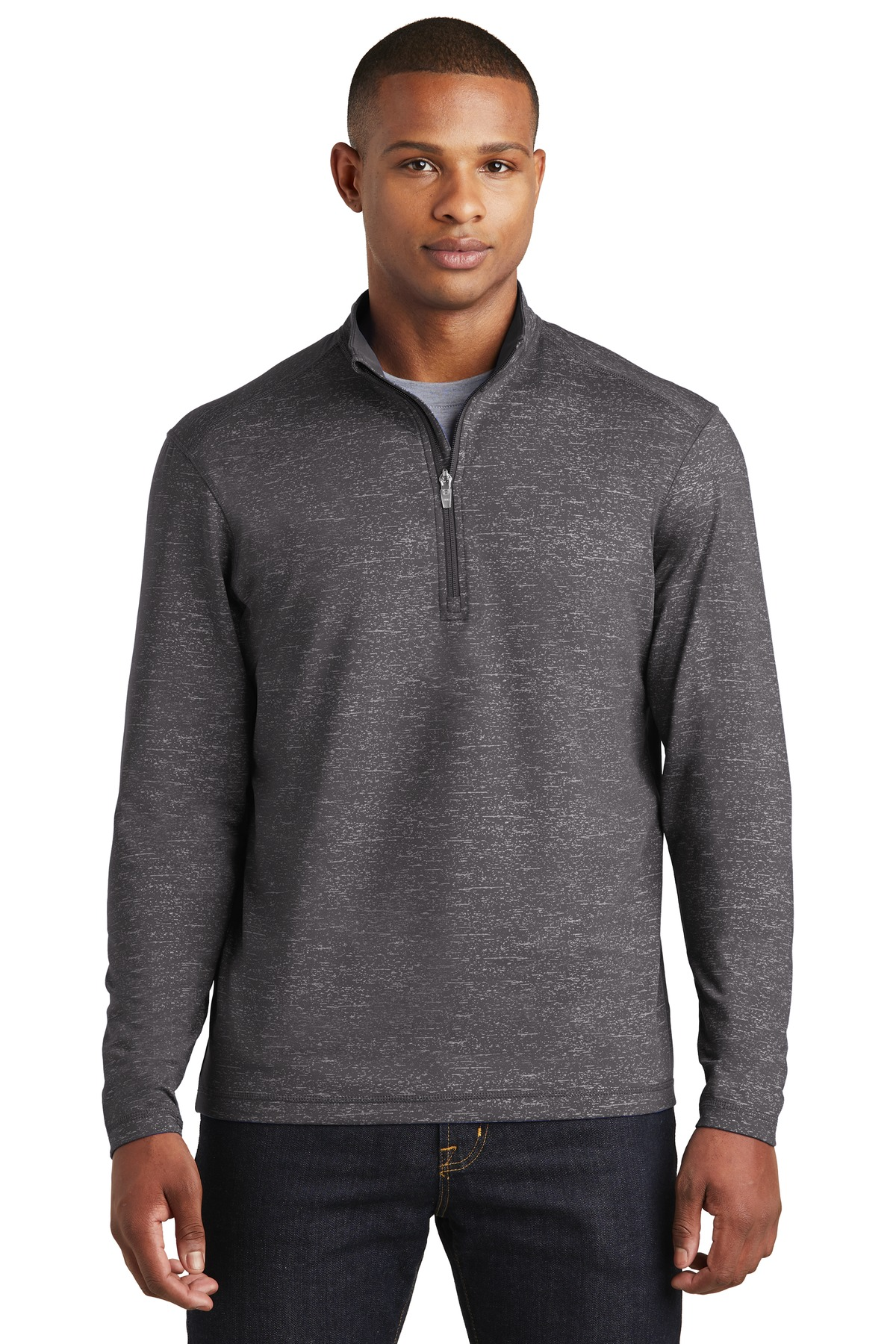 Sport-Tek  ®  Sport-Wick  ®  Stretch Reflective Heather 1/2-Zip Pullover. ST855 - Charcoal Grey
