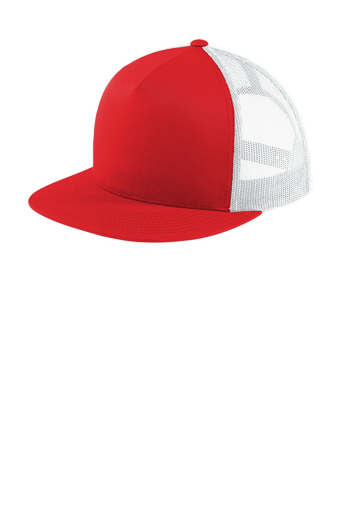 Sport-Tek  ®  Yupoong  ®  5-Panel Classic Trucker Mesh Back Cap. STC38 - True Red/ White