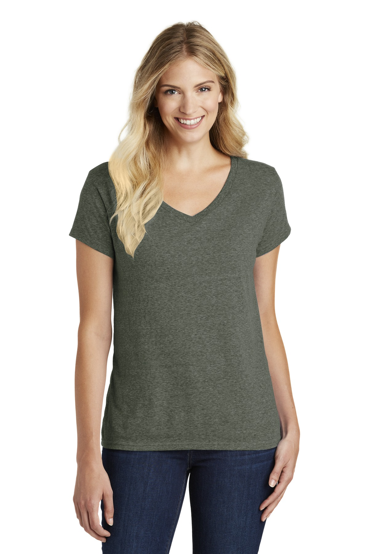 District Women''s Perfect Blend V-Neck Tee. DM1190L