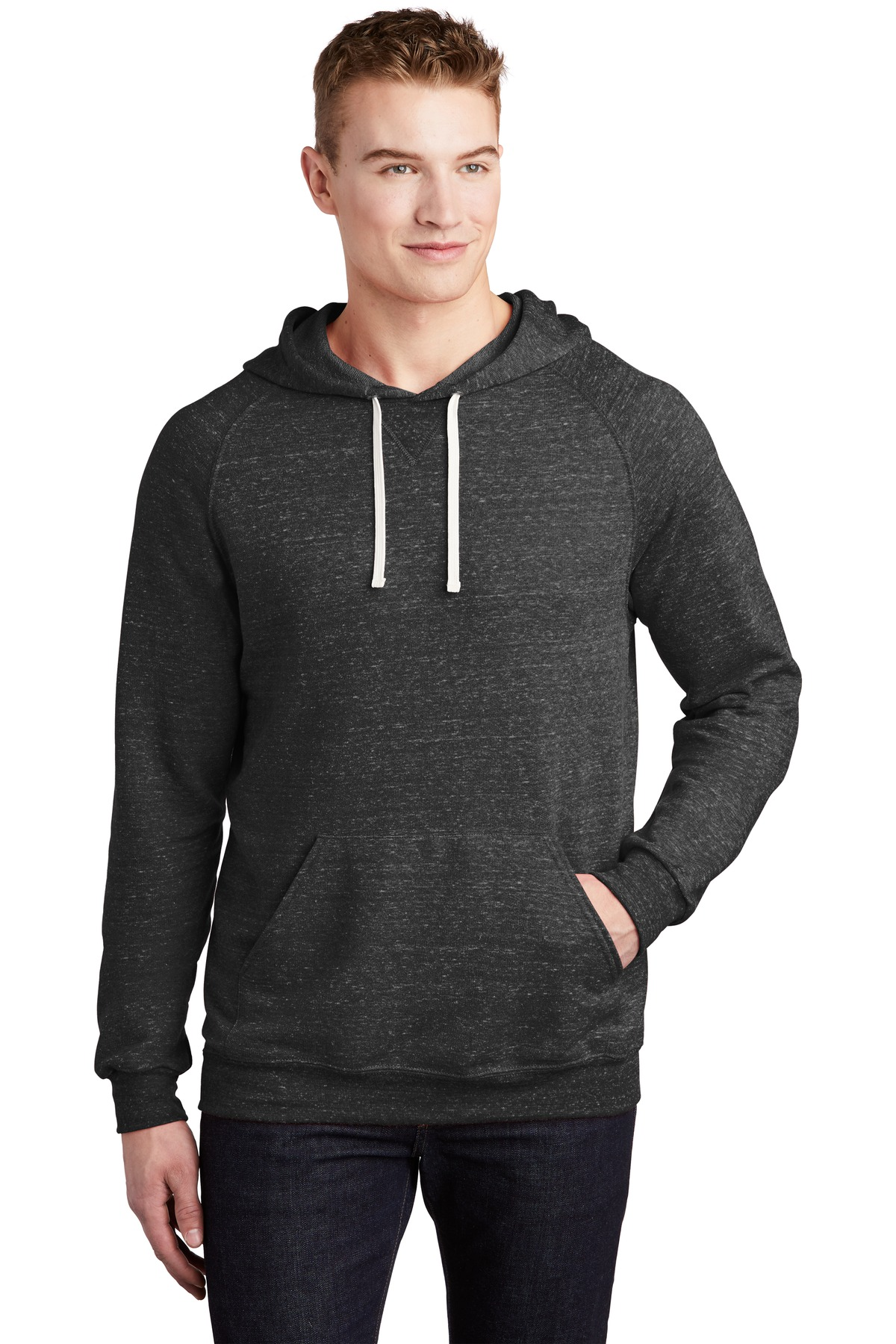 JERZEES  ®  Snow Heather French Terry Raglan Hoodie 90M - Black Ink