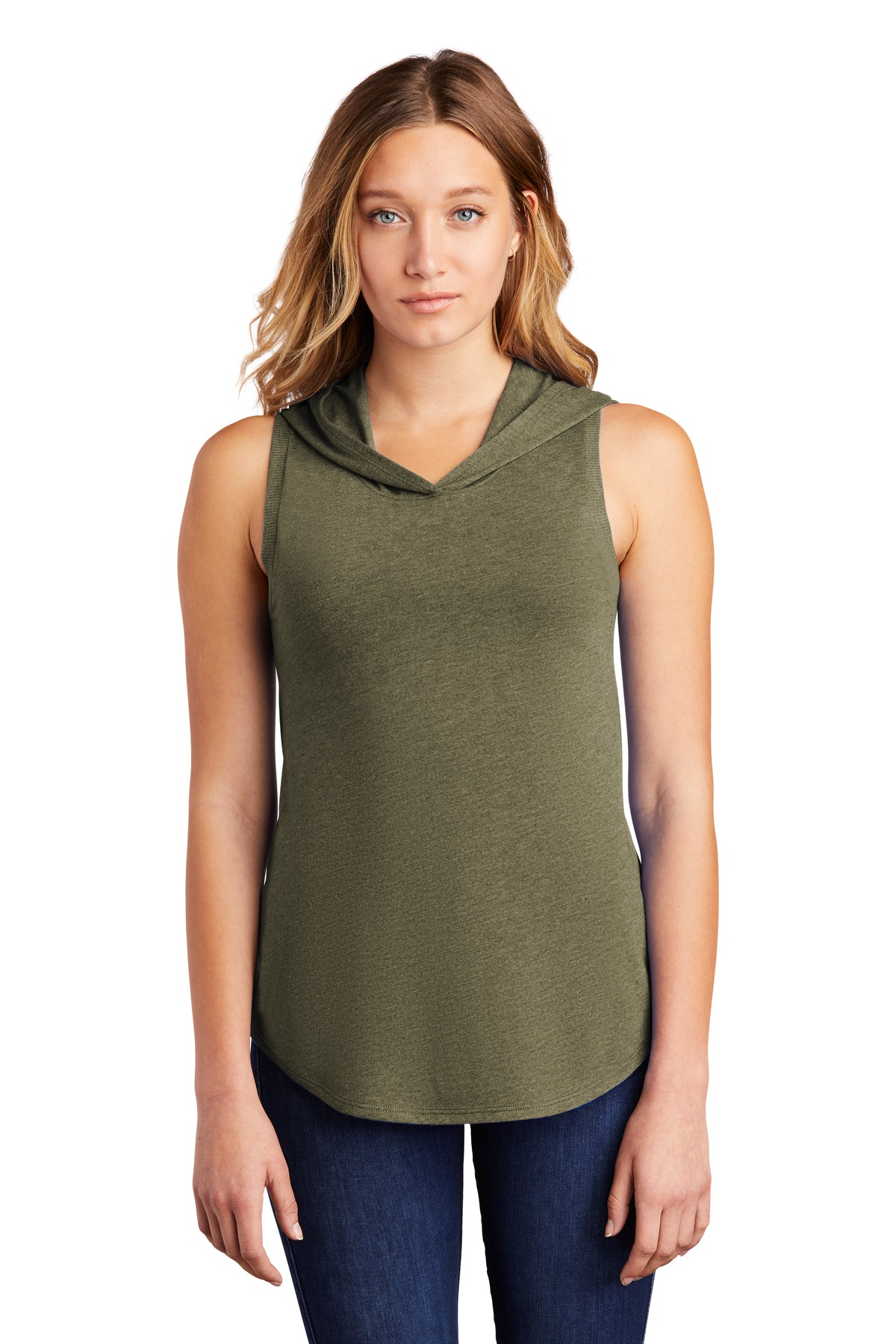 District  ®  Women's Perfect Tri  ®  Sleeveless Hoodie DT1375 - Military Green Frost