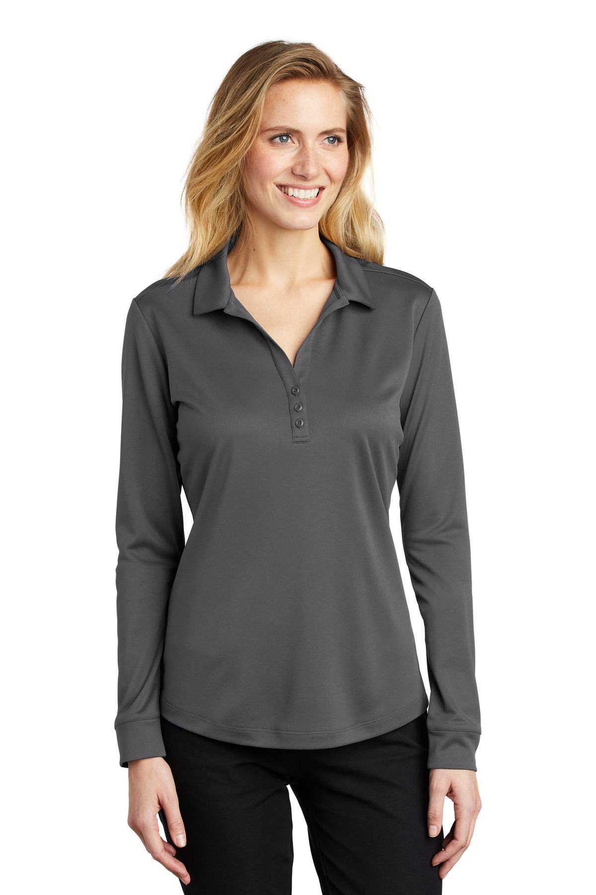 Port Authority  ®  Ladies Silk Touch  ™   Performance Long Sleeve Polo. L540LS - Steel Grey