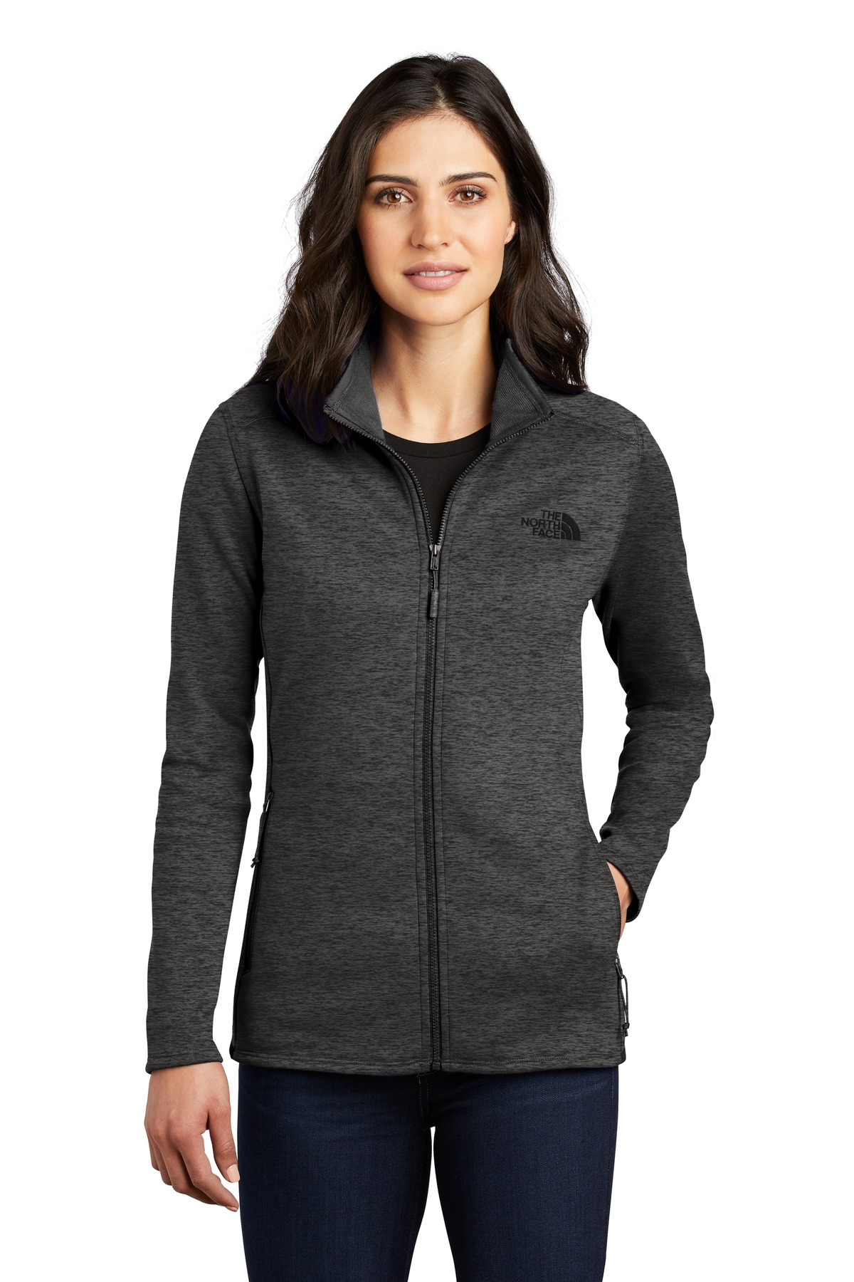 The North Face  ®  Ladies Skyline Full-Zip Fleece Jacket NF0A47F6 - TNF Dark Grey Heather