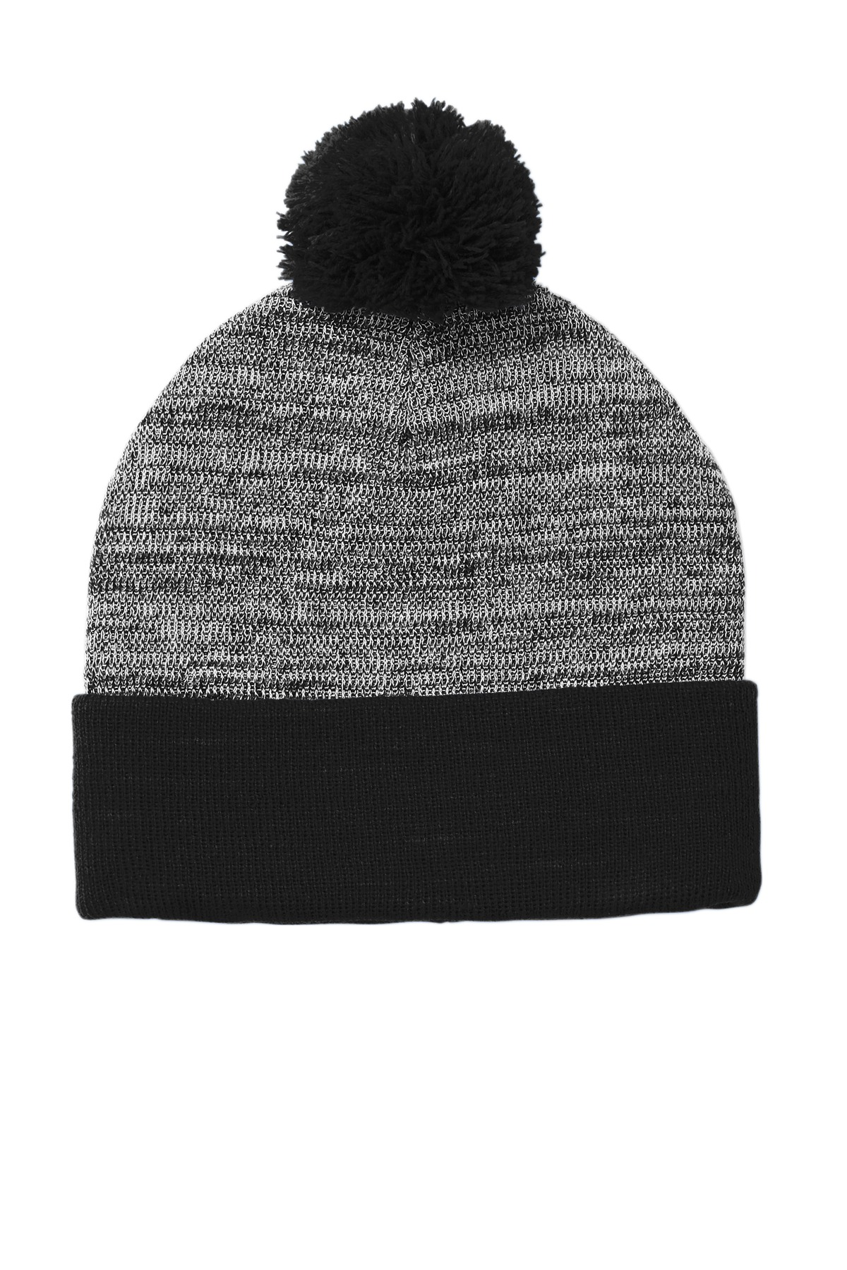 Sport-Tek  ®  Heather Pom Pom Beanie STC41 - Black/ Grey Heather