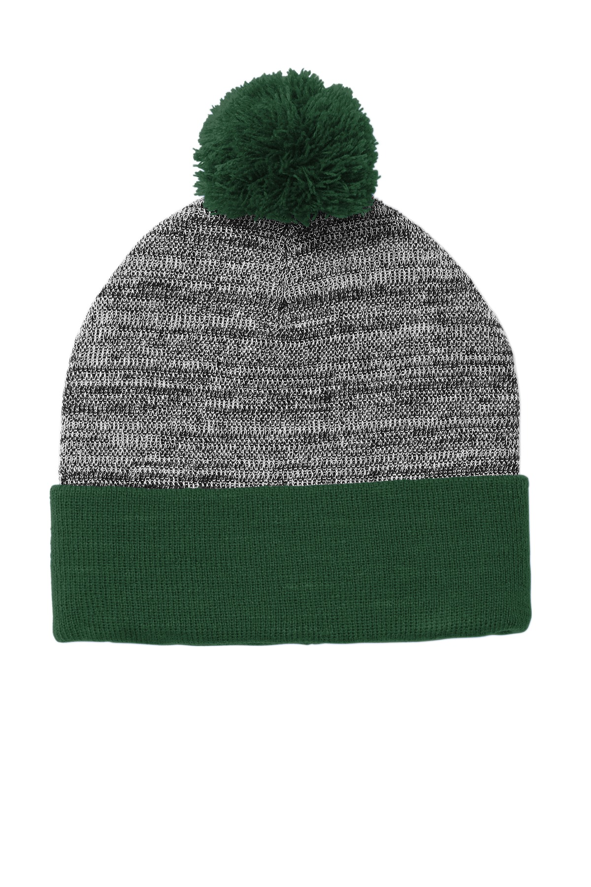 Sport-Tek  ®  Heather Pom Pom Beanie STC41 - Forest Green/ Grey Heather