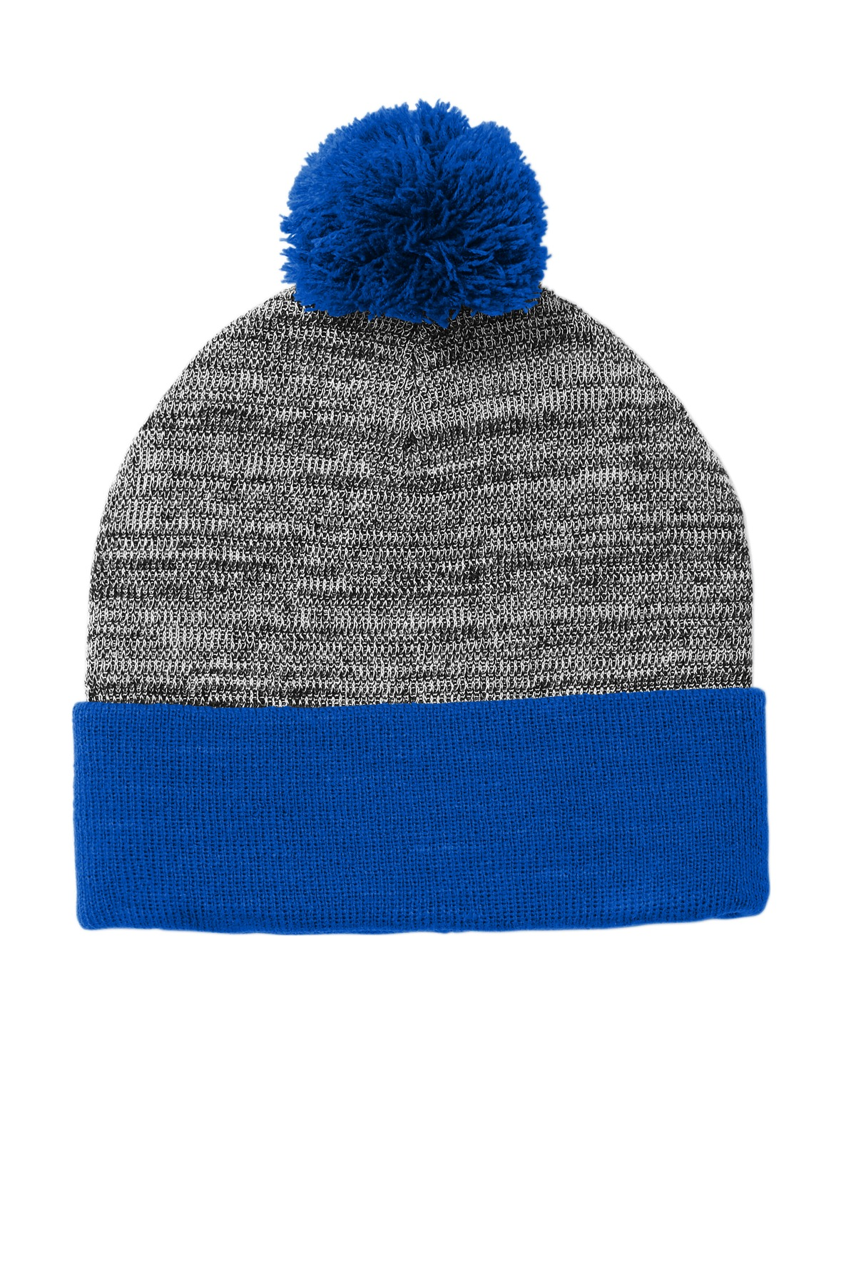 Sport-Tek  ®  Heather Pom Pom Beanie STC41 - True Royal/ Grey Heather