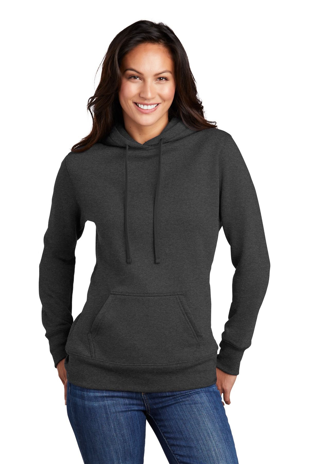 Port & Company  ®  Ladies Core Fleece Pullover Hooded Sweatshirt LPC78H - Dark Heather Grey