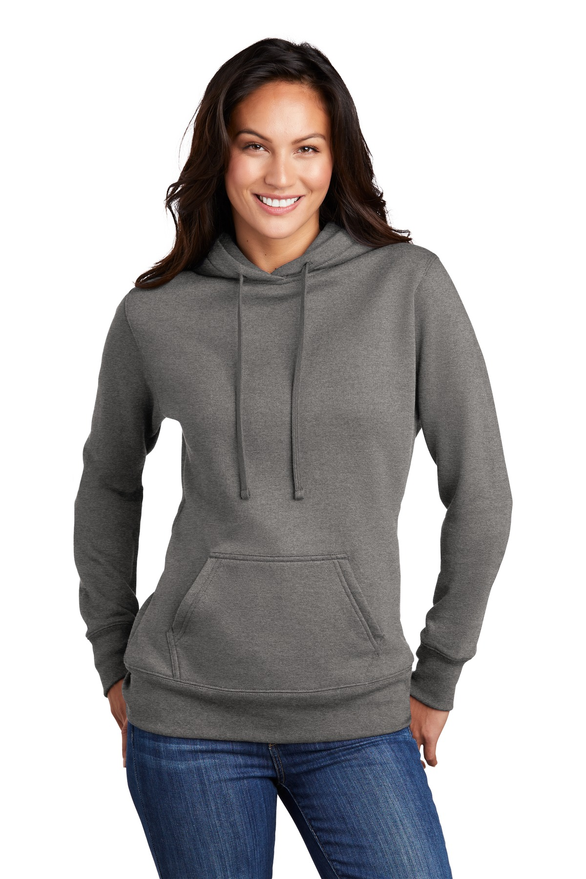 Port & Company  ®  Ladies Core Fleece Pullover Hooded Sweatshirt LPC78H - Graphite Heather