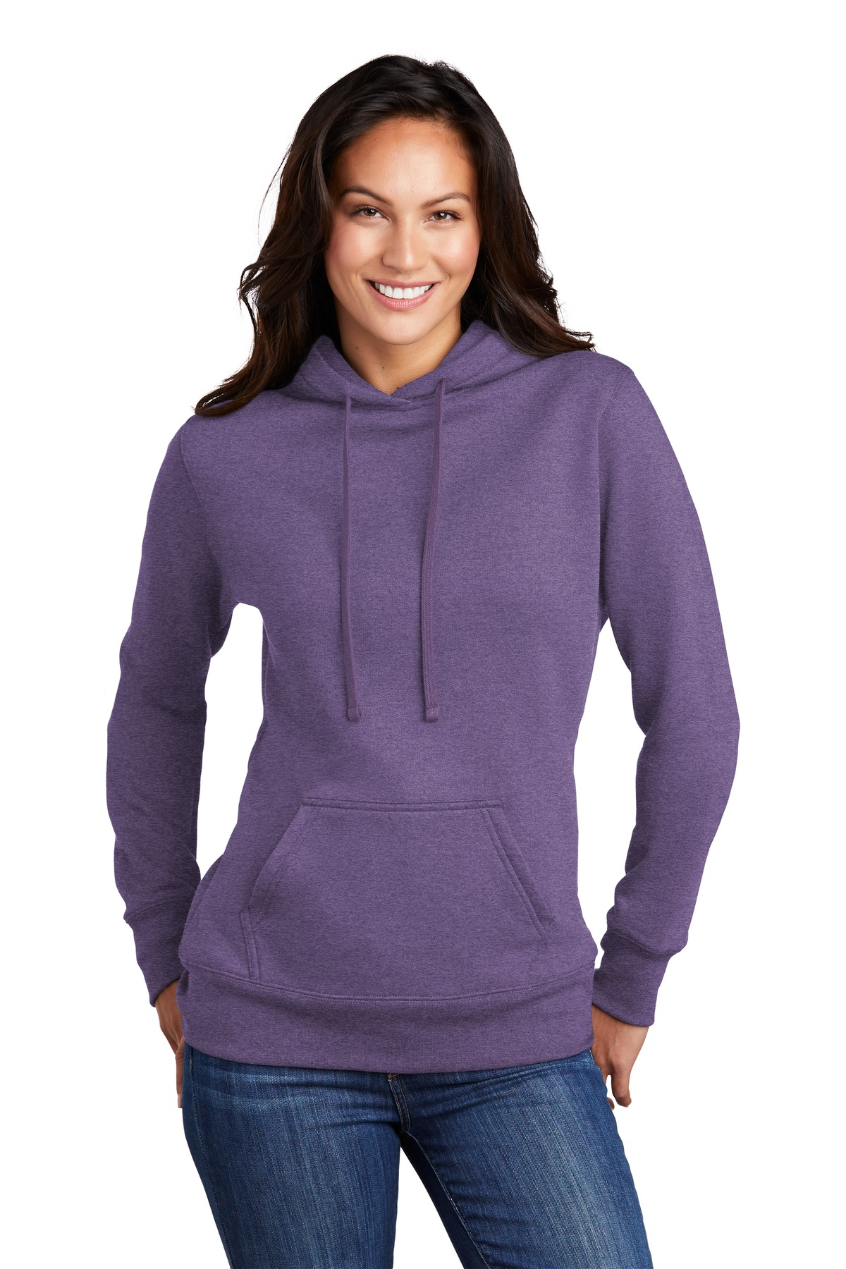 Port & Company  ®  Ladies Core Fleece Pullover Hooded Sweatshirt LPC78H - Heather Purple