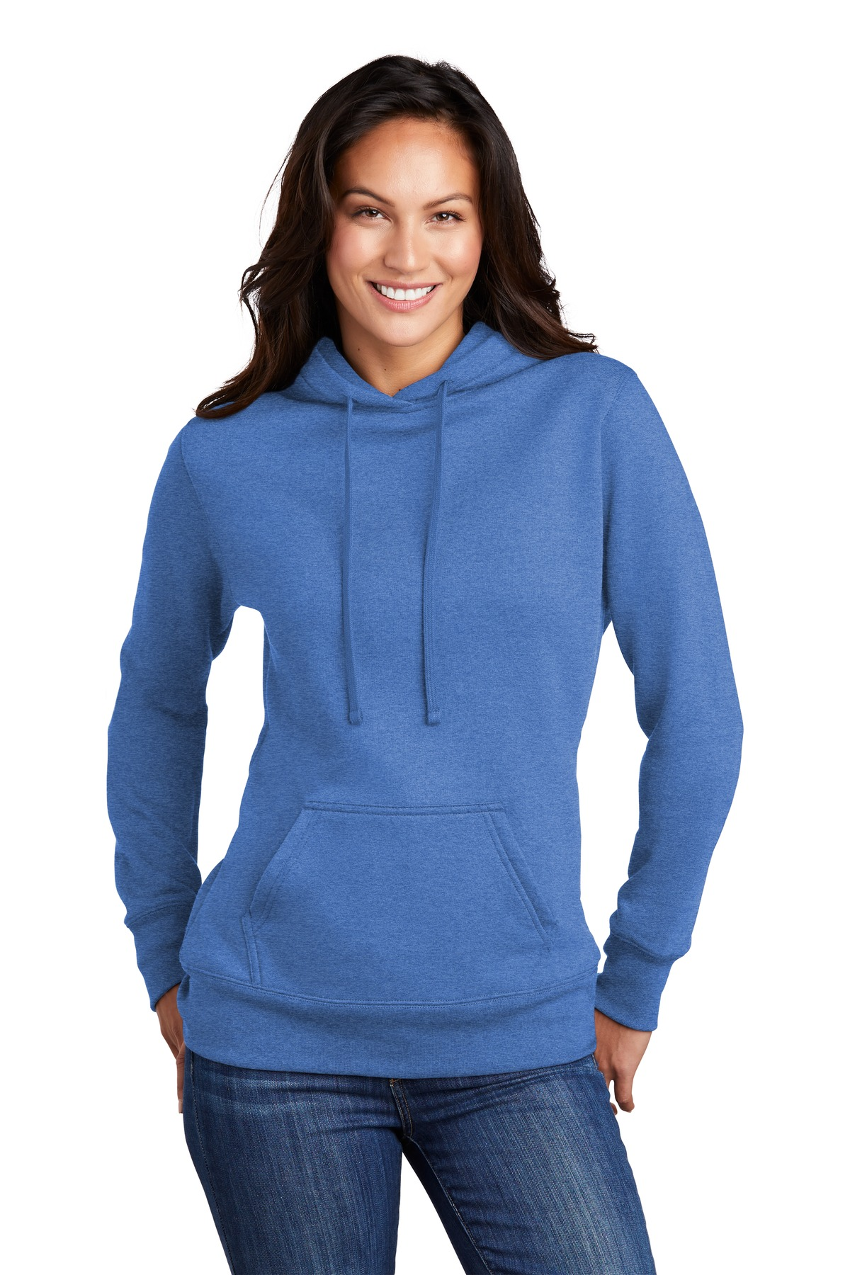 Port & Company  ®  Ladies Core Fleece Pullover Hooded Sweatshirt LPC78H - Heather Royal