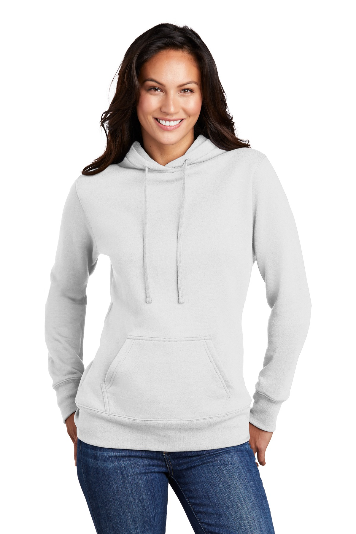 Port & Company  ®  Ladies Core Fleece Pullover Hooded Sweatshirt LPC78H - White