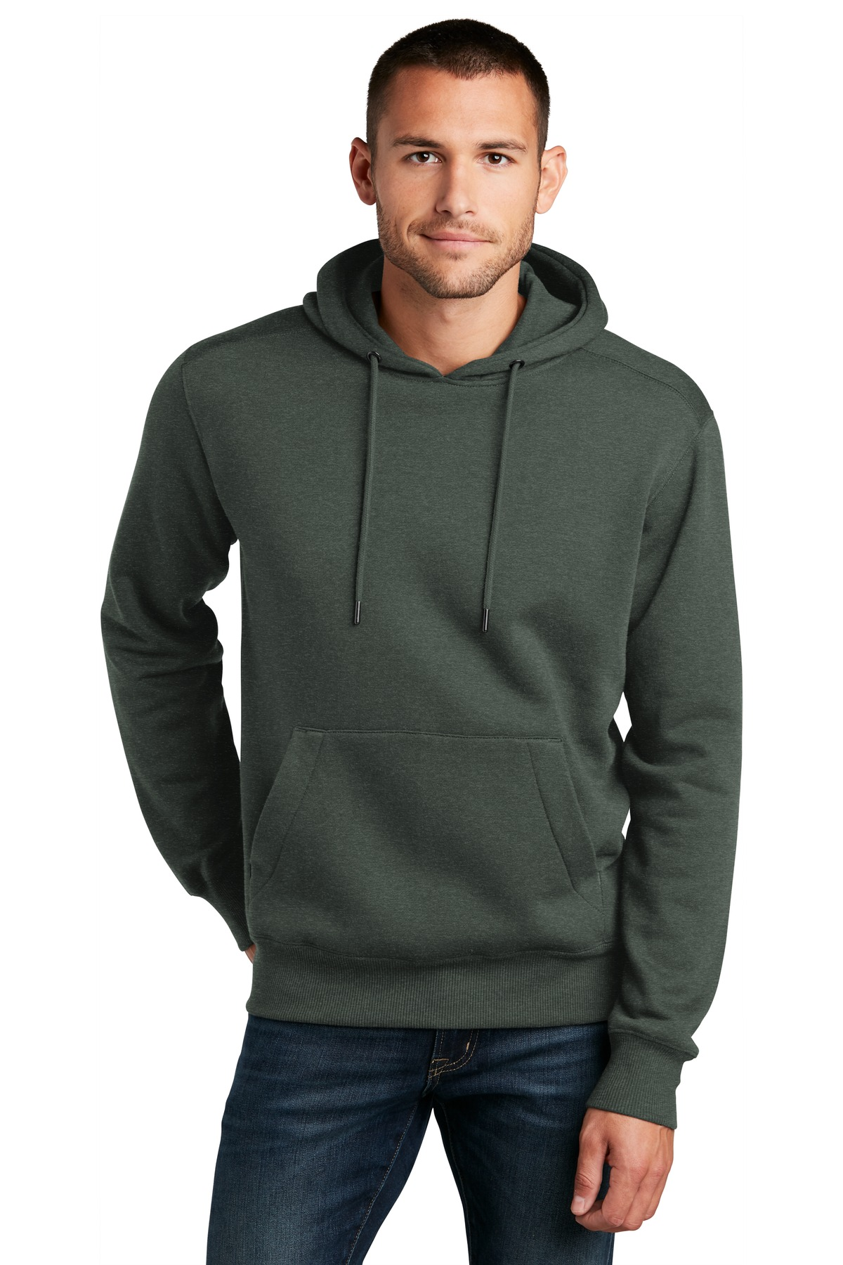 District  ®  Perfect Weight  ®  Fleece Hoodie DT1101 - Heathered Forest Green