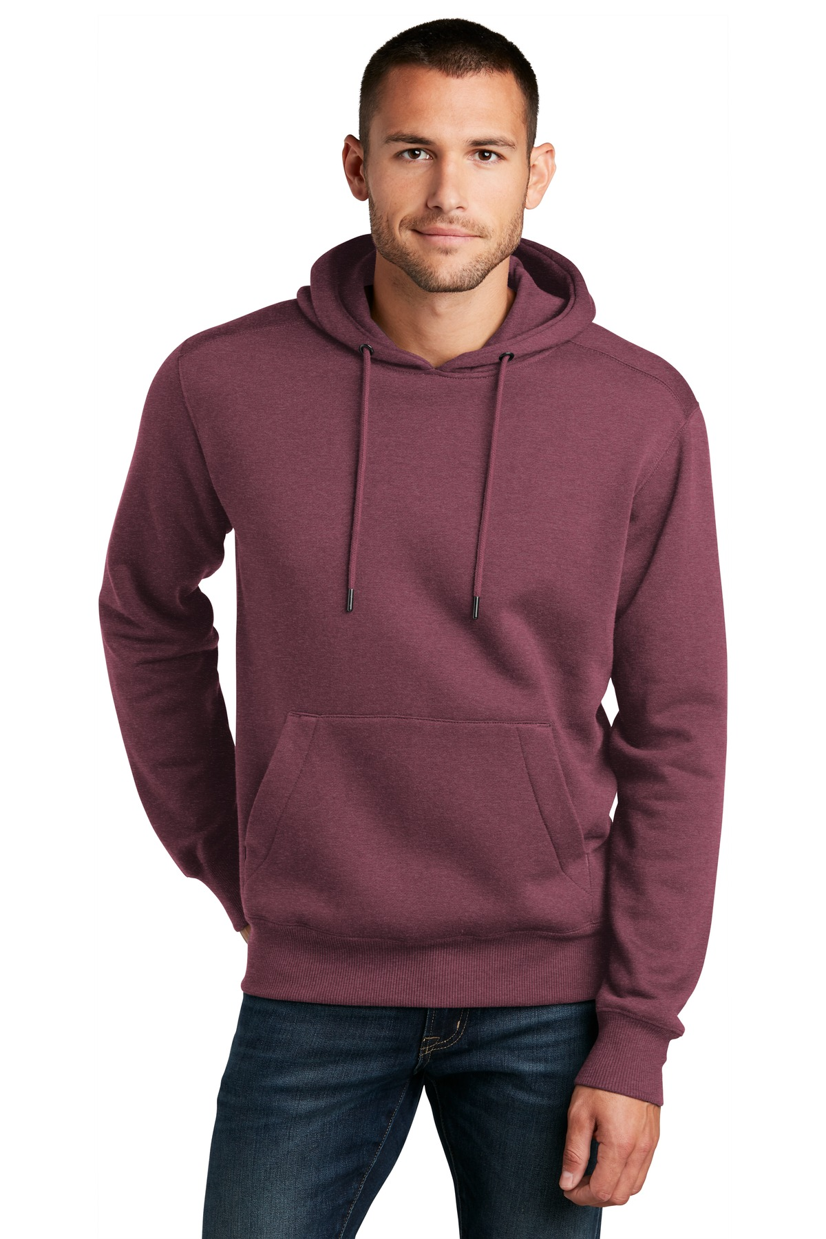 District  ®  Perfect Weight  ®  Fleece Hoodie DT1101 - Heathered Loganberry