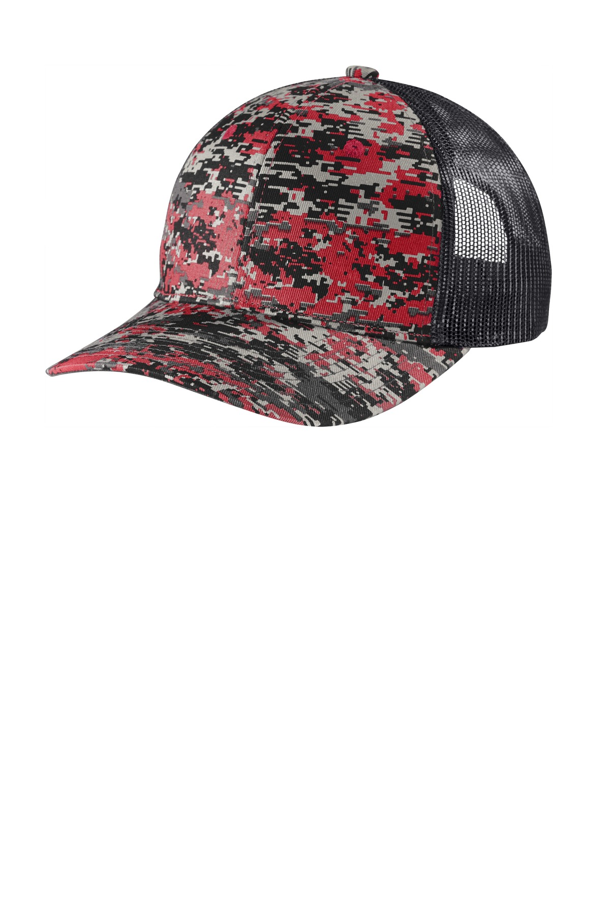 Port Authority  ®  Digi Camo Snapback Trucker Cap C114 - Flame Red Digi/ Grey Steel
