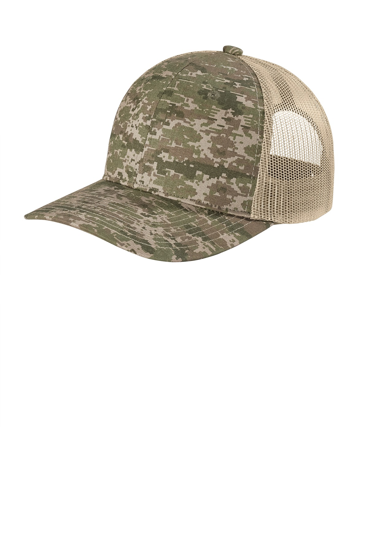 Port Authority  ®  Digi Camo Snapback Trucker Cap C114 - Olive Drab Green Digi/ Coyote Brown